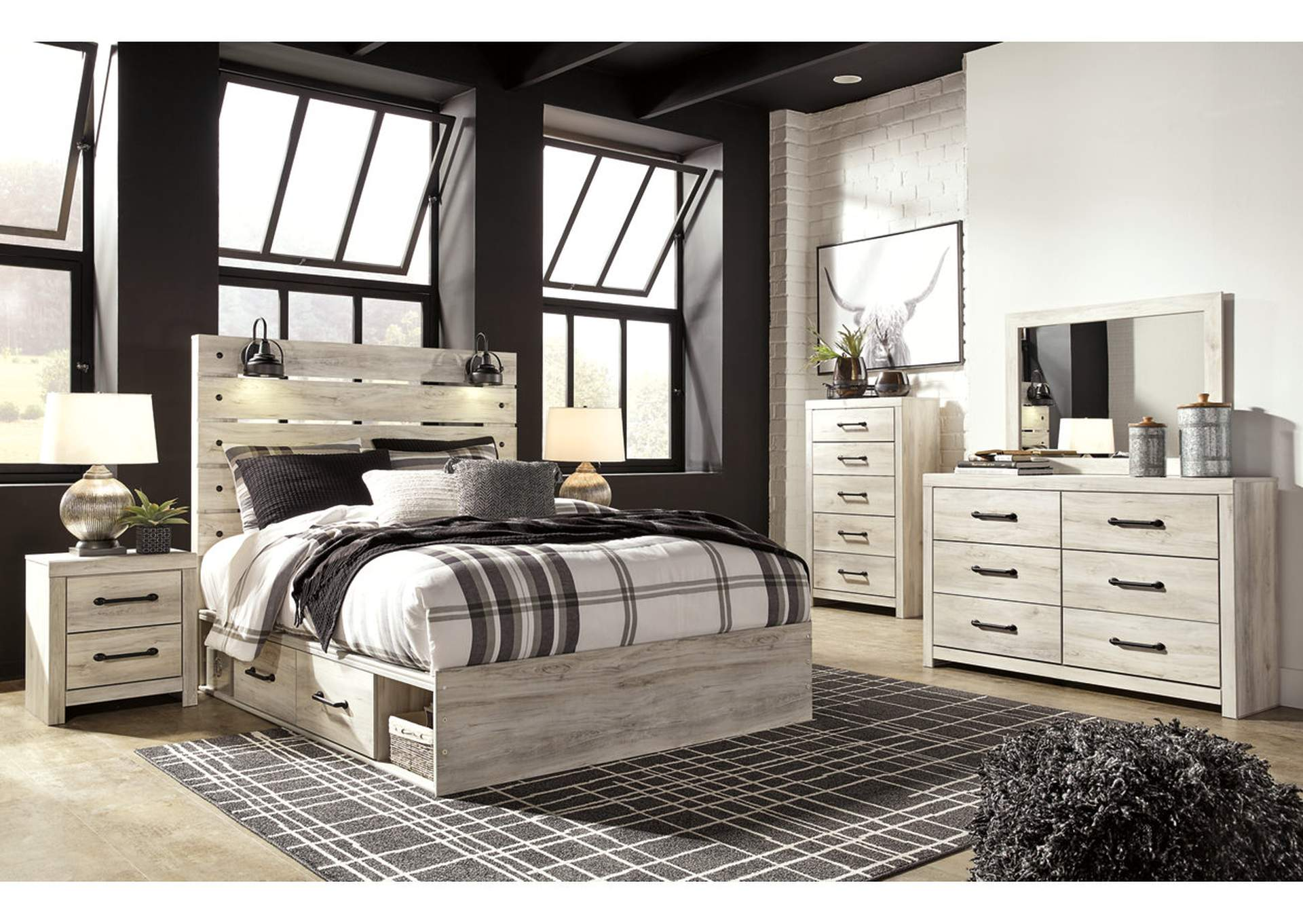 Cambeck Queen Panel Bed with 2 Storage Drawers, Dresser and Mirror,Signature Design By Ashley
