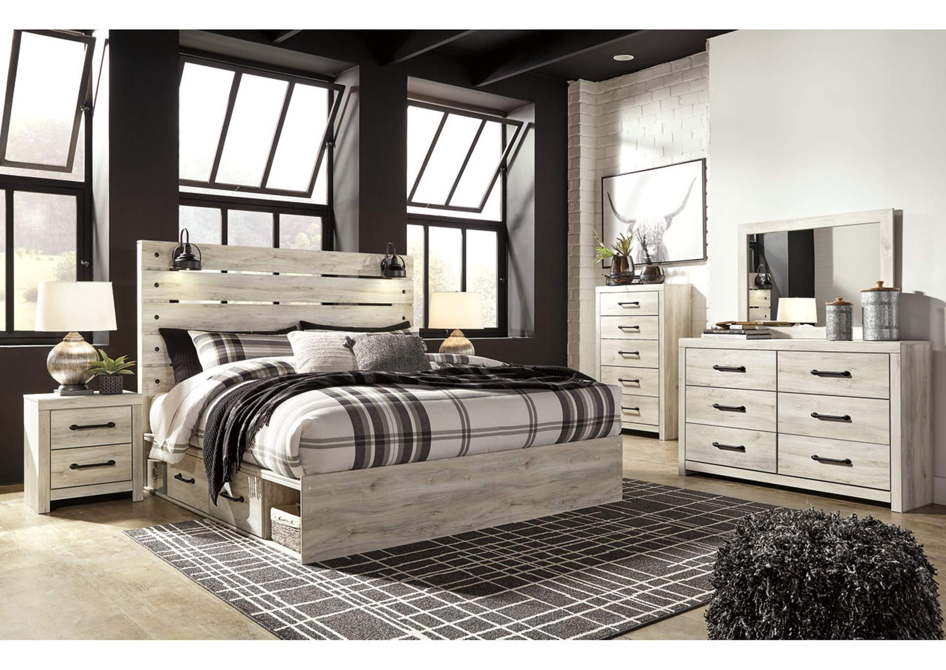 Cambeck King Panel Bed with 2 Storage Drawers, Dresser and Mirror,Signature Design By Ashley