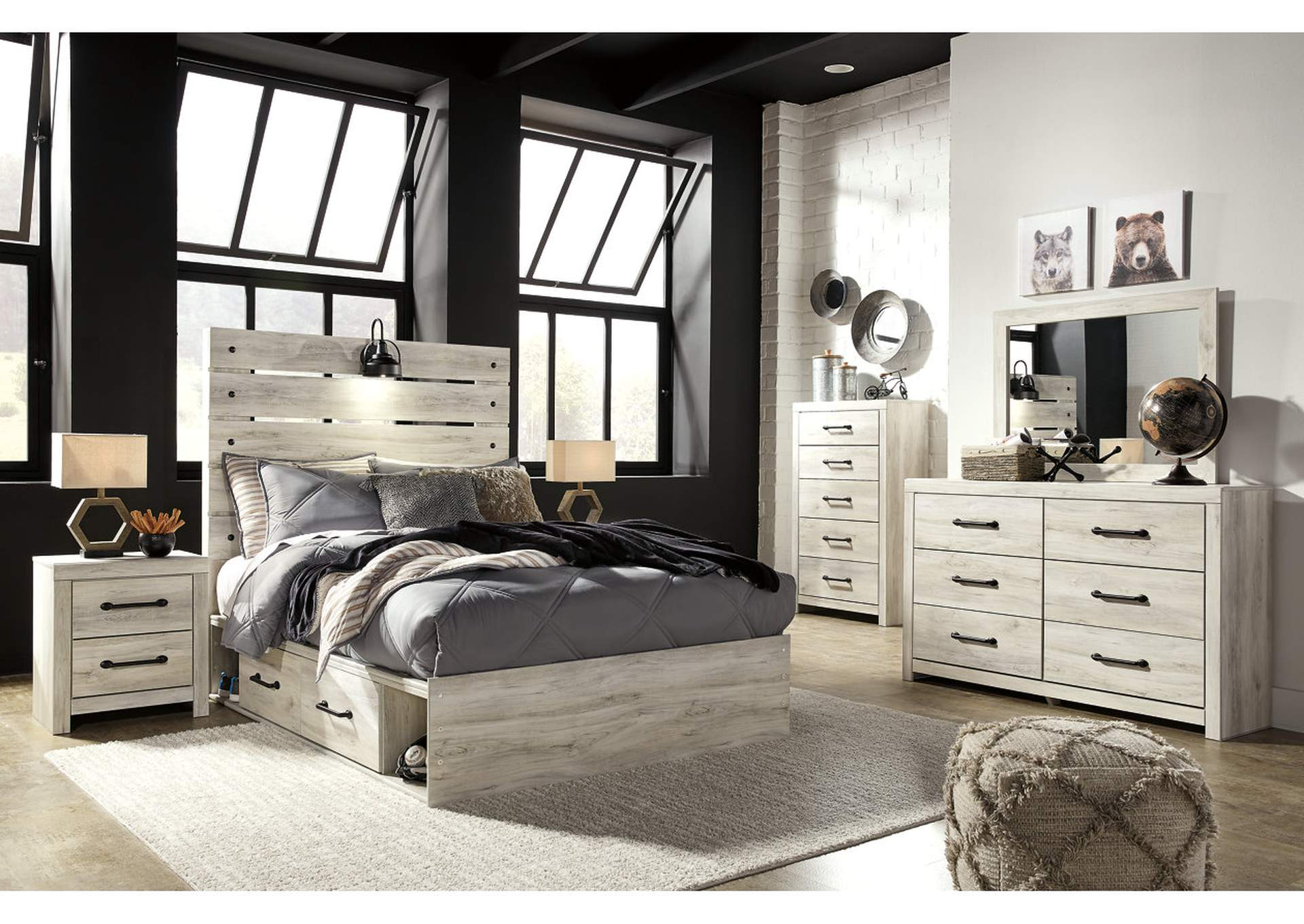Cambeck Full Panel Bed with 2 Storage Drawers, Dresser and Mirror,Signature Design By Ashley