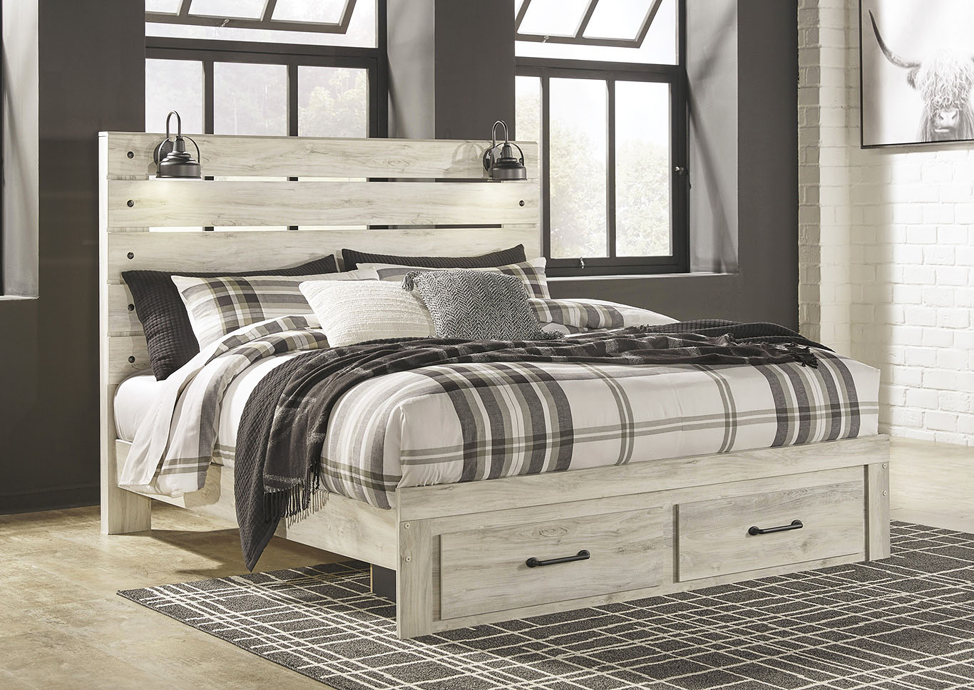 Cambeck King Panel Bed with 5 Storage Drawers Jarons