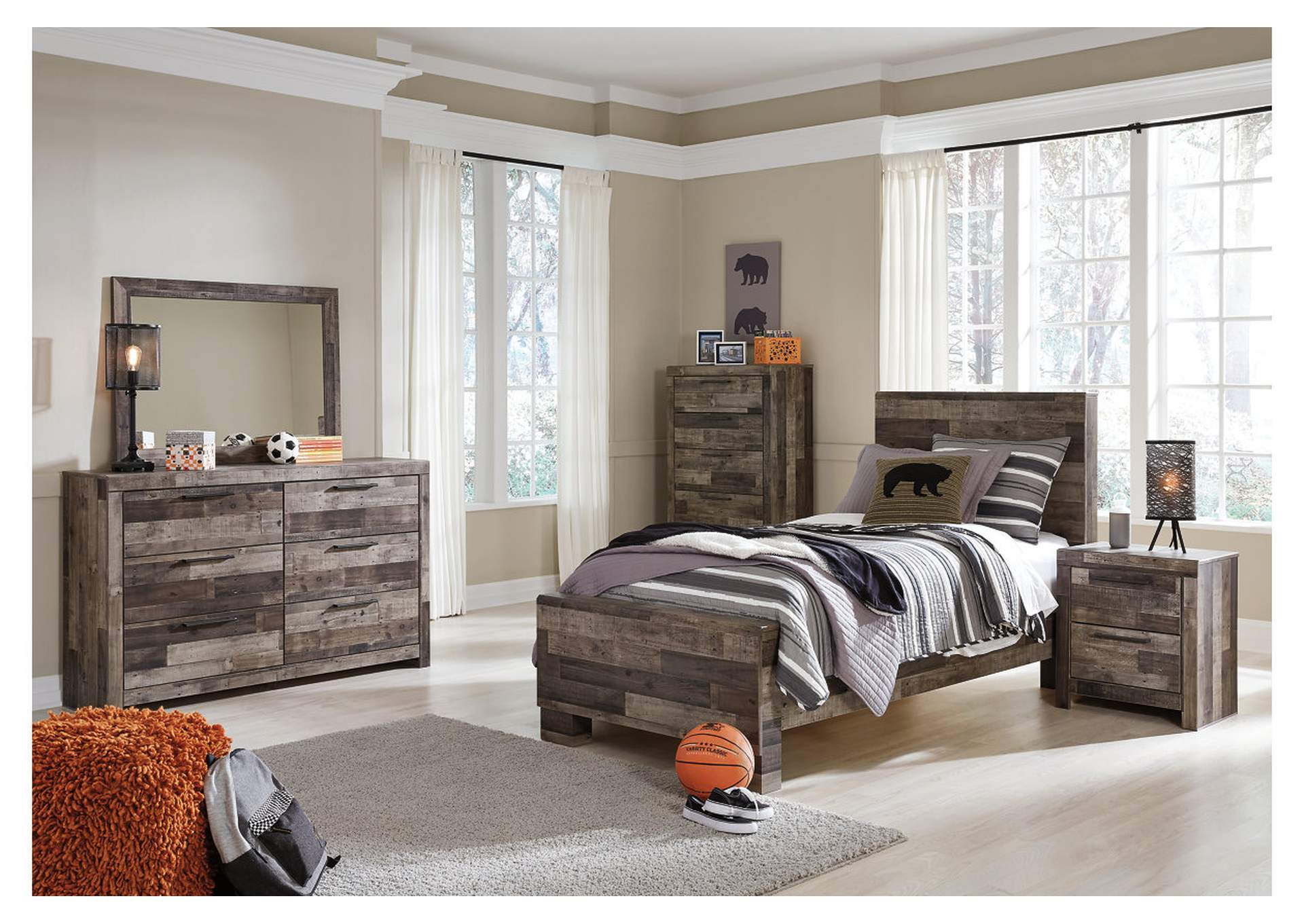 Derekson Twin Panel Bed w/Dresser and Mirror,Benchcraft