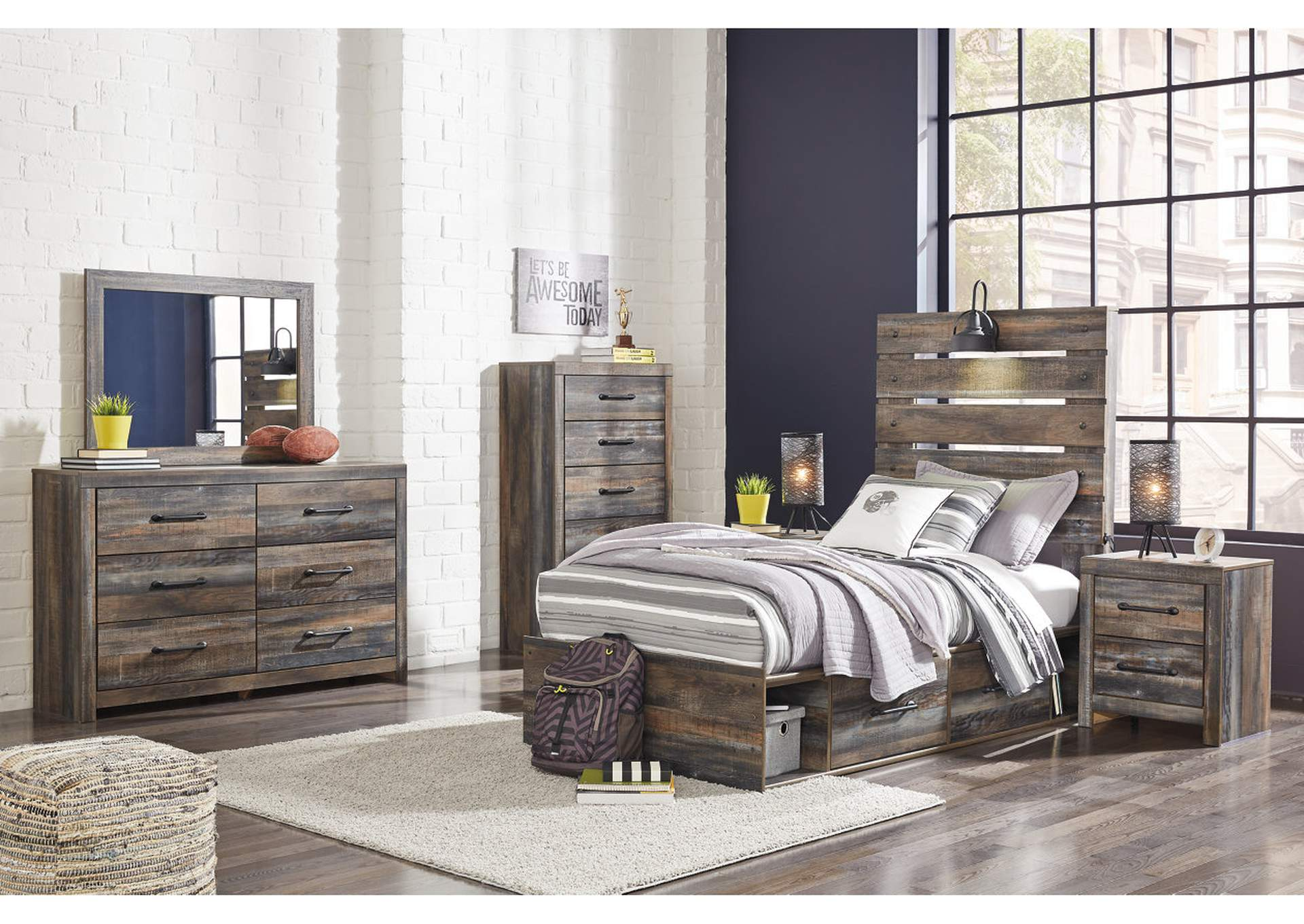 Drystan Twin Panel Bed with 2 Storage Drawers w/Dresser and Mirror,Signature Design By Ashley