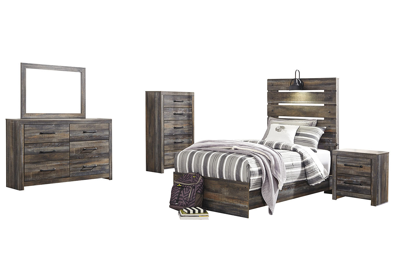 Drystan Twin Panel Bed w/Dresser and Mirror,Signature Design By Ashley