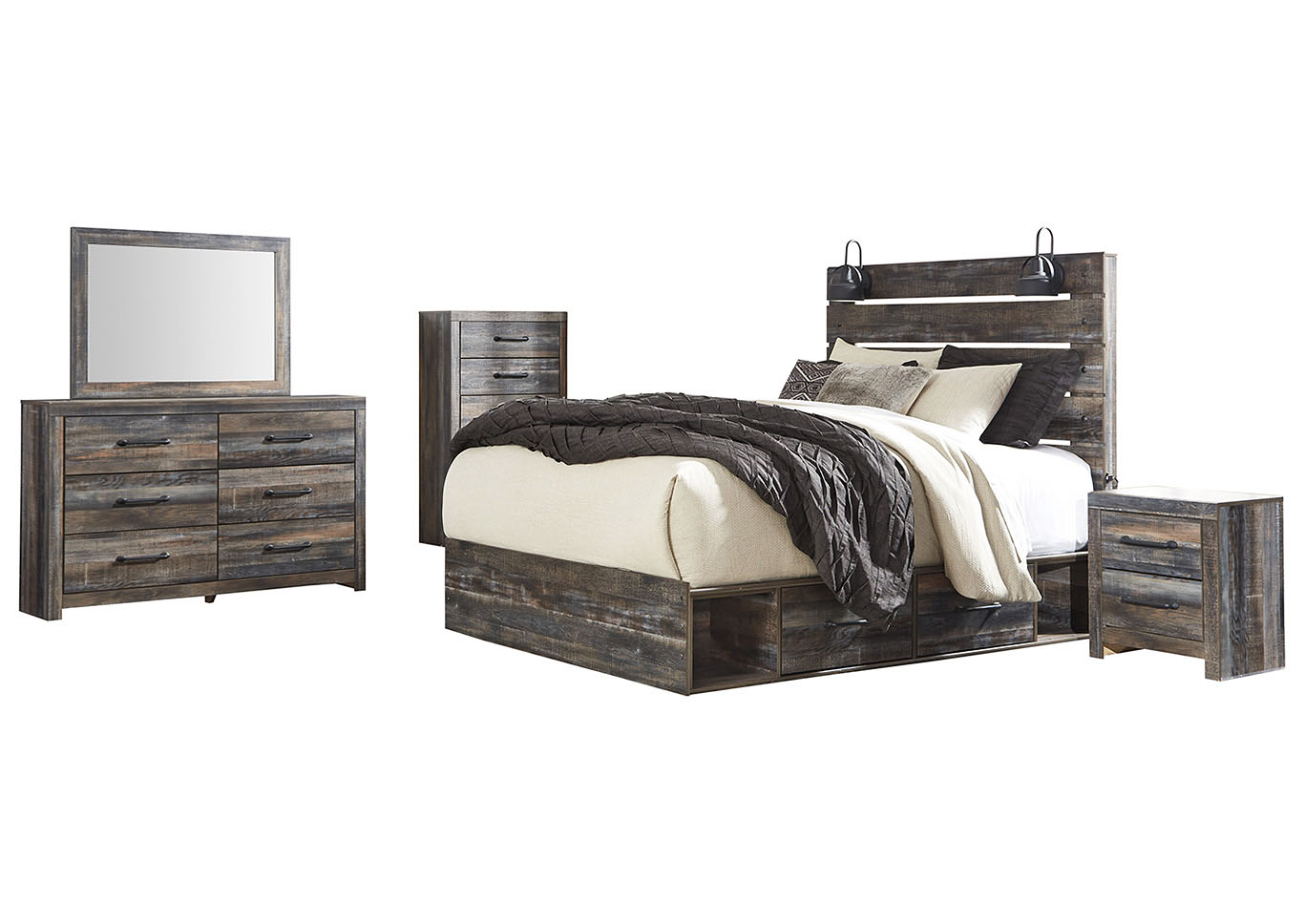 Drystan Queen Panel Bed with 2 Storage Drawers w/Dresser and Mirror,Signature Design By Ashley