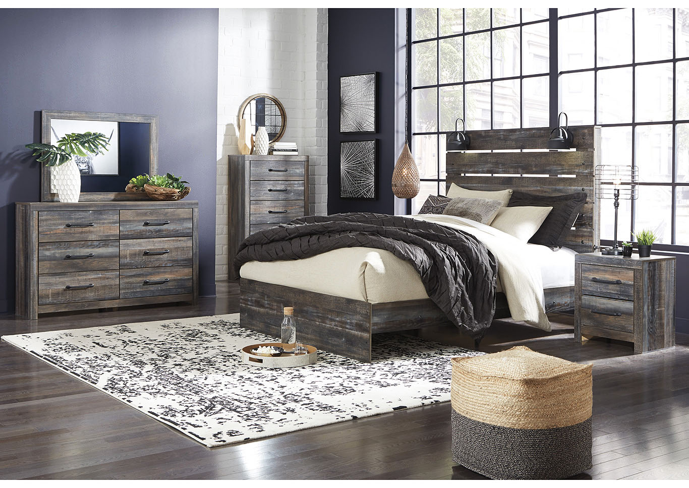 Drystan Queen Panel Bed w/Dresser and Mirror,Signature Design By Ashley
