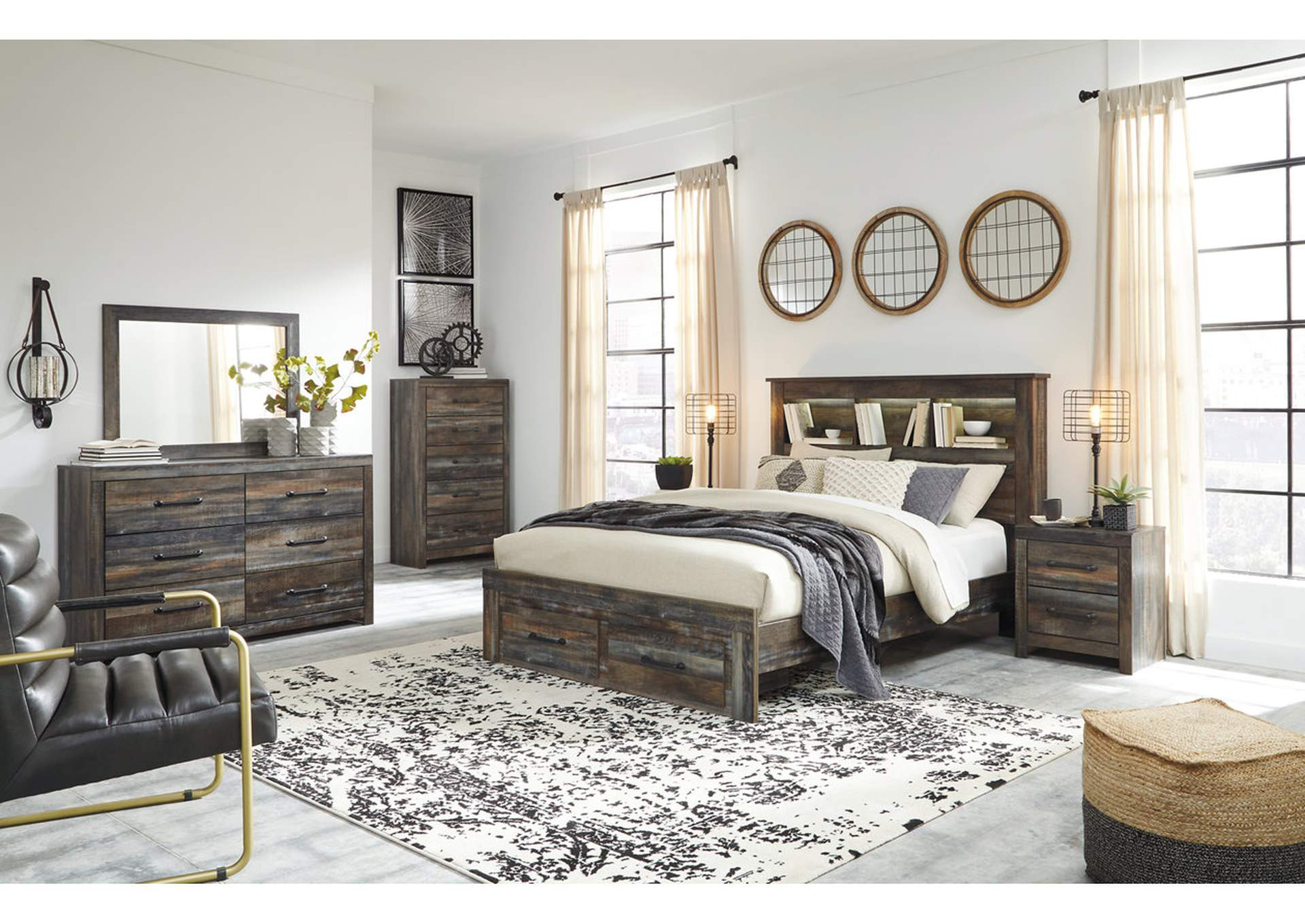 Drystan Queen Bookcase Bed with 2 Storage Drawers,Signature Design By Ashley