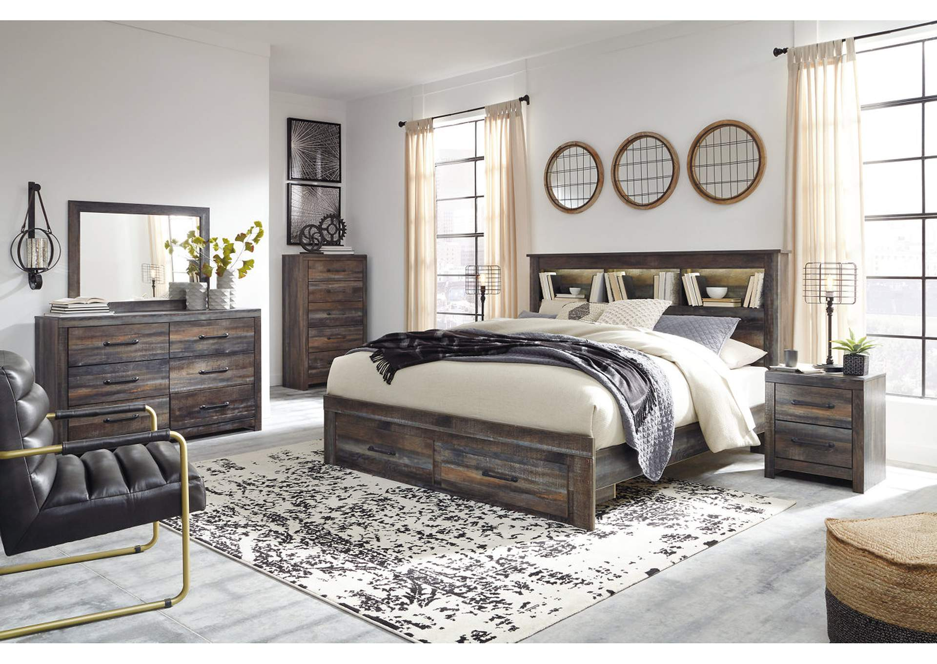 Drystan King Bookcase Bed with 2 Storage Drawers,Signature Design By Ashley