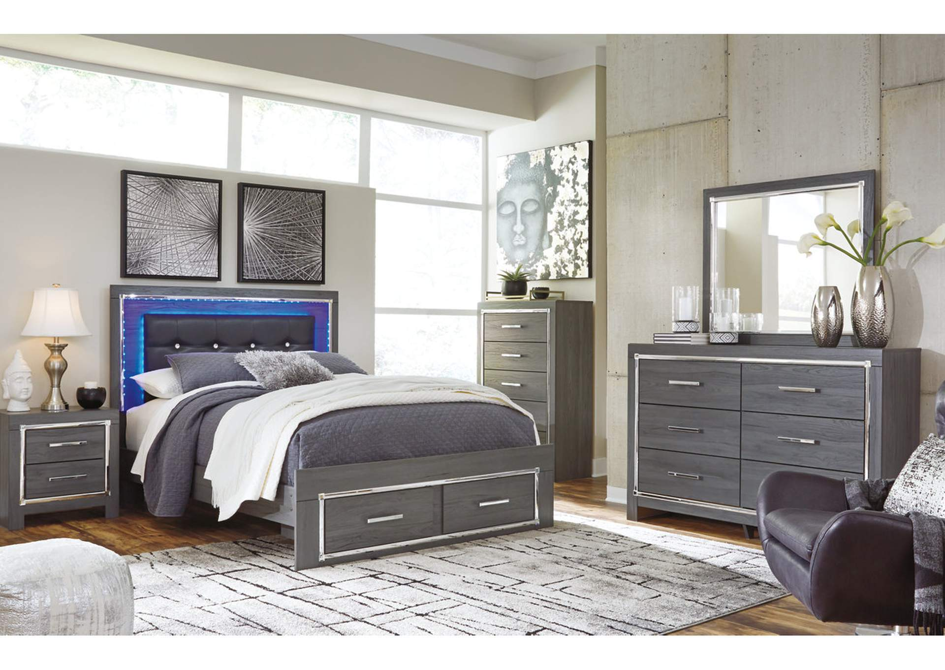 Lodanna King Panel Bed with 2 Storage Drawers, Dresser and Mirror,Signature Design By Ashley