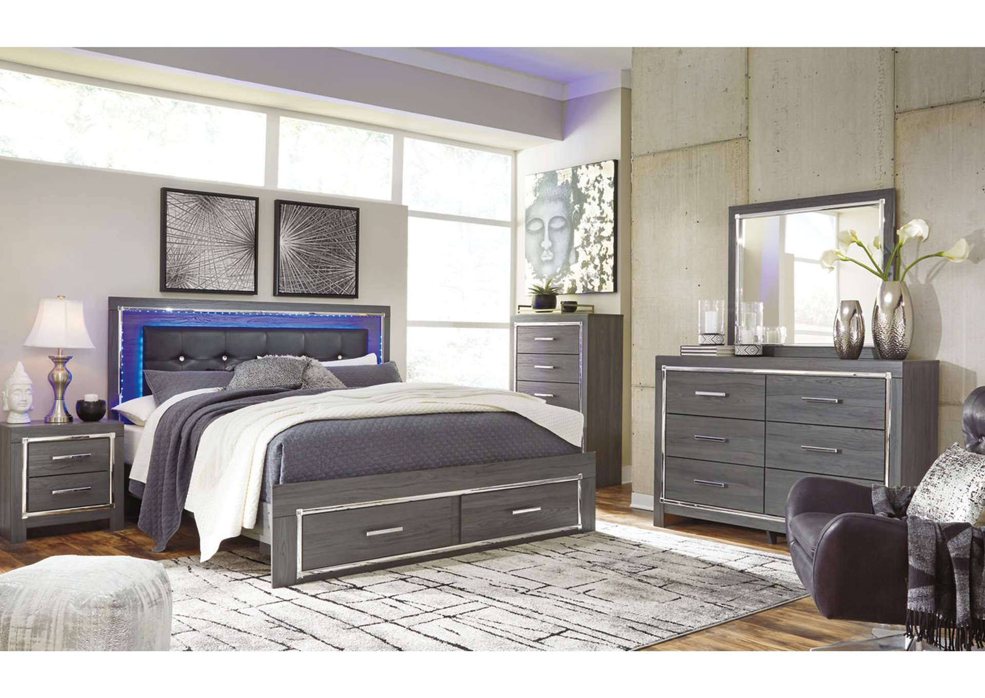 Lodanna Gray Full Storage Bed w/Dresser & Mirror,Signature Design By Ashley