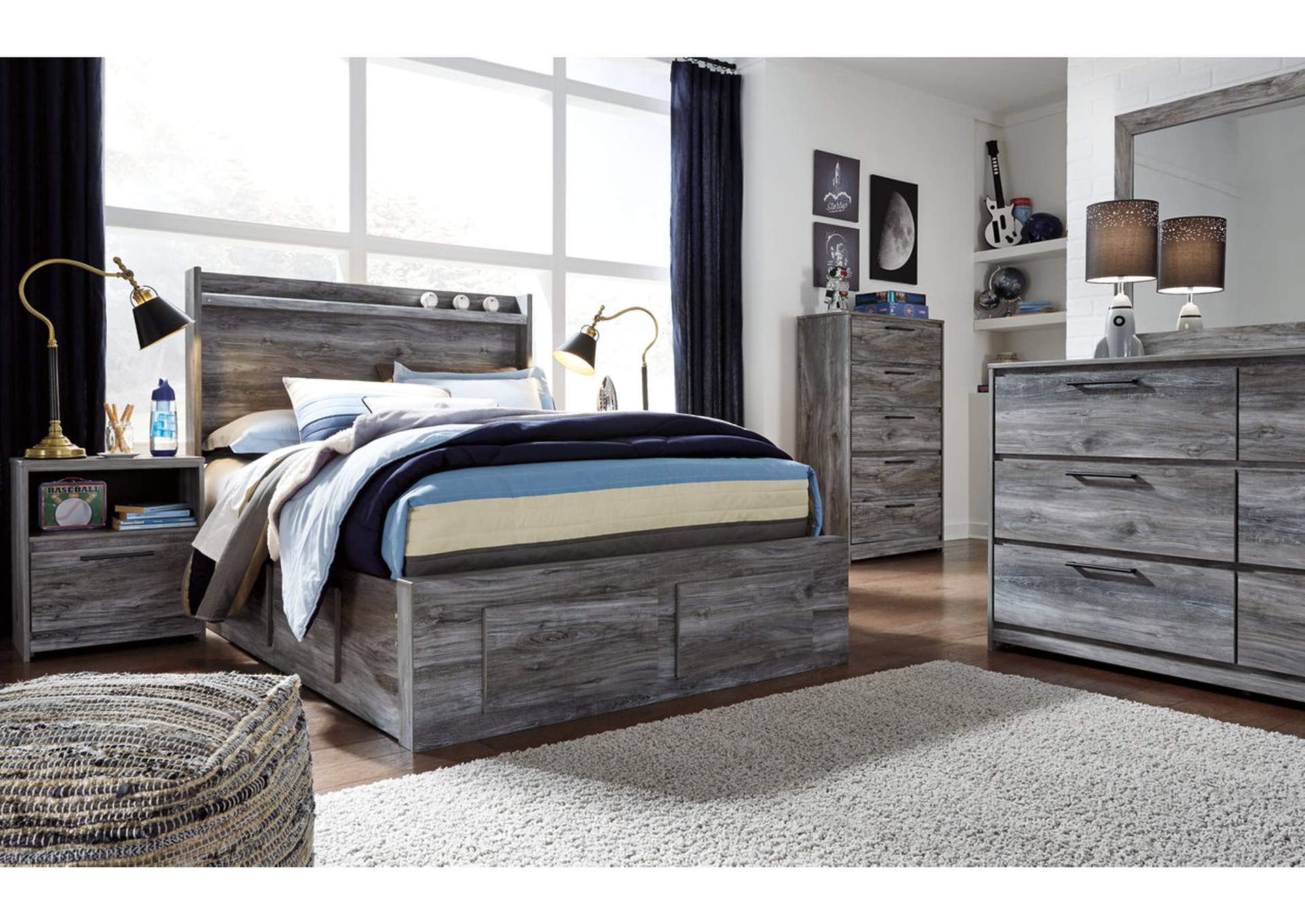 Baystorm Full Panel Bed with 6 Storage Drawers,Signature Design By Ashley