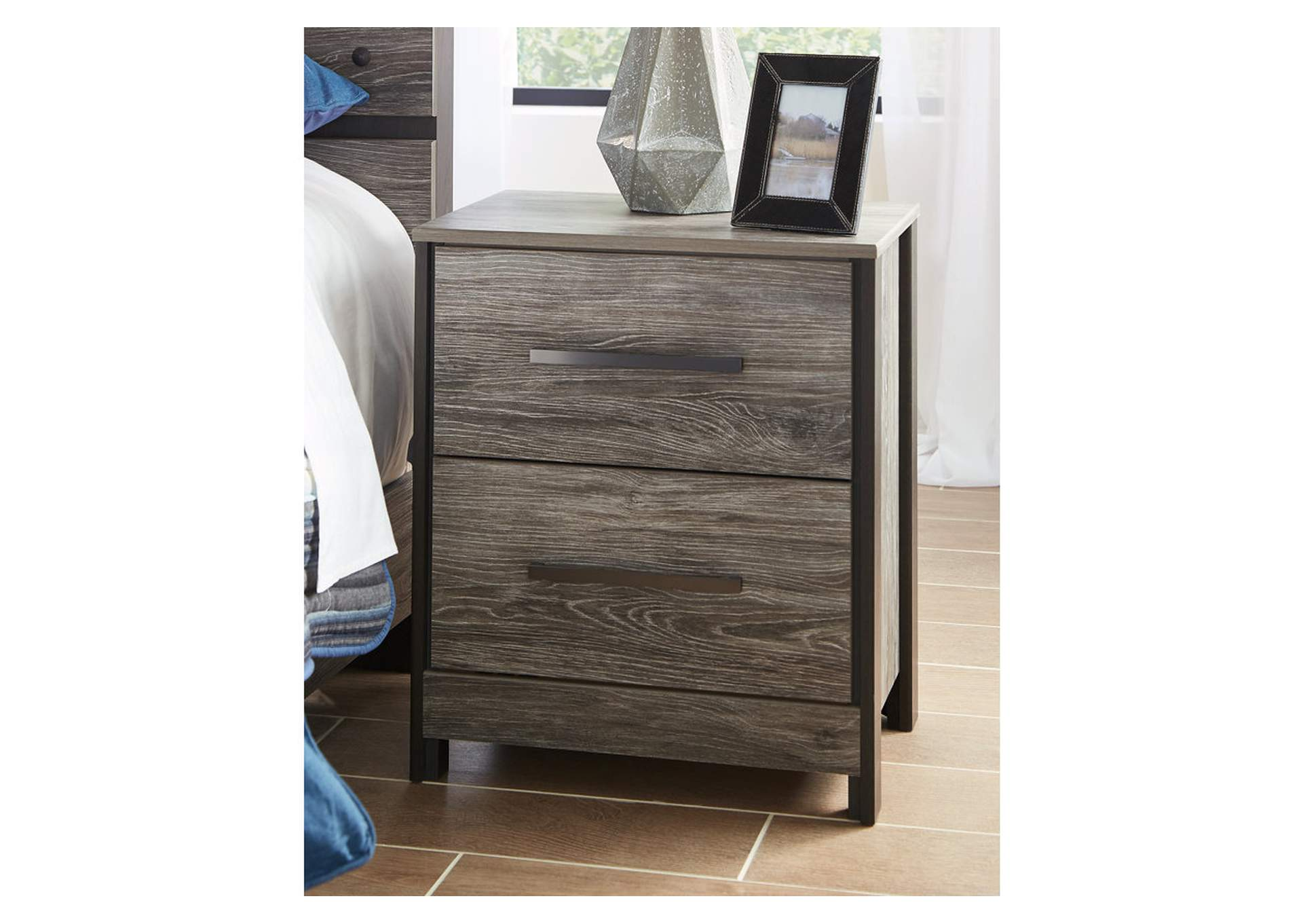 Cazenfeld Black/Gray Two Drawer Nightstand,Direct To Consumer Express