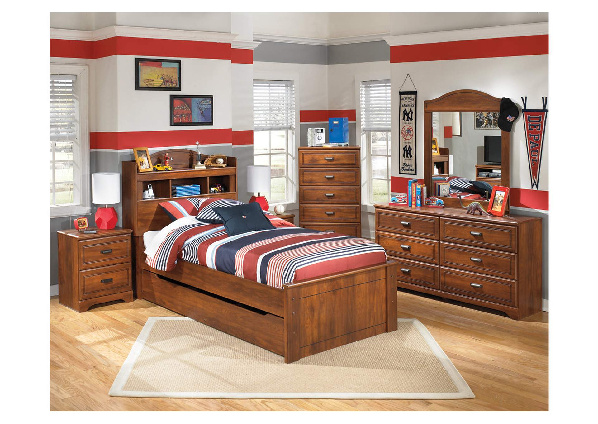 Barchan Twin Bookcase Bed w/ Trundle, Dresser & Mirror,Signature Design By Ashley