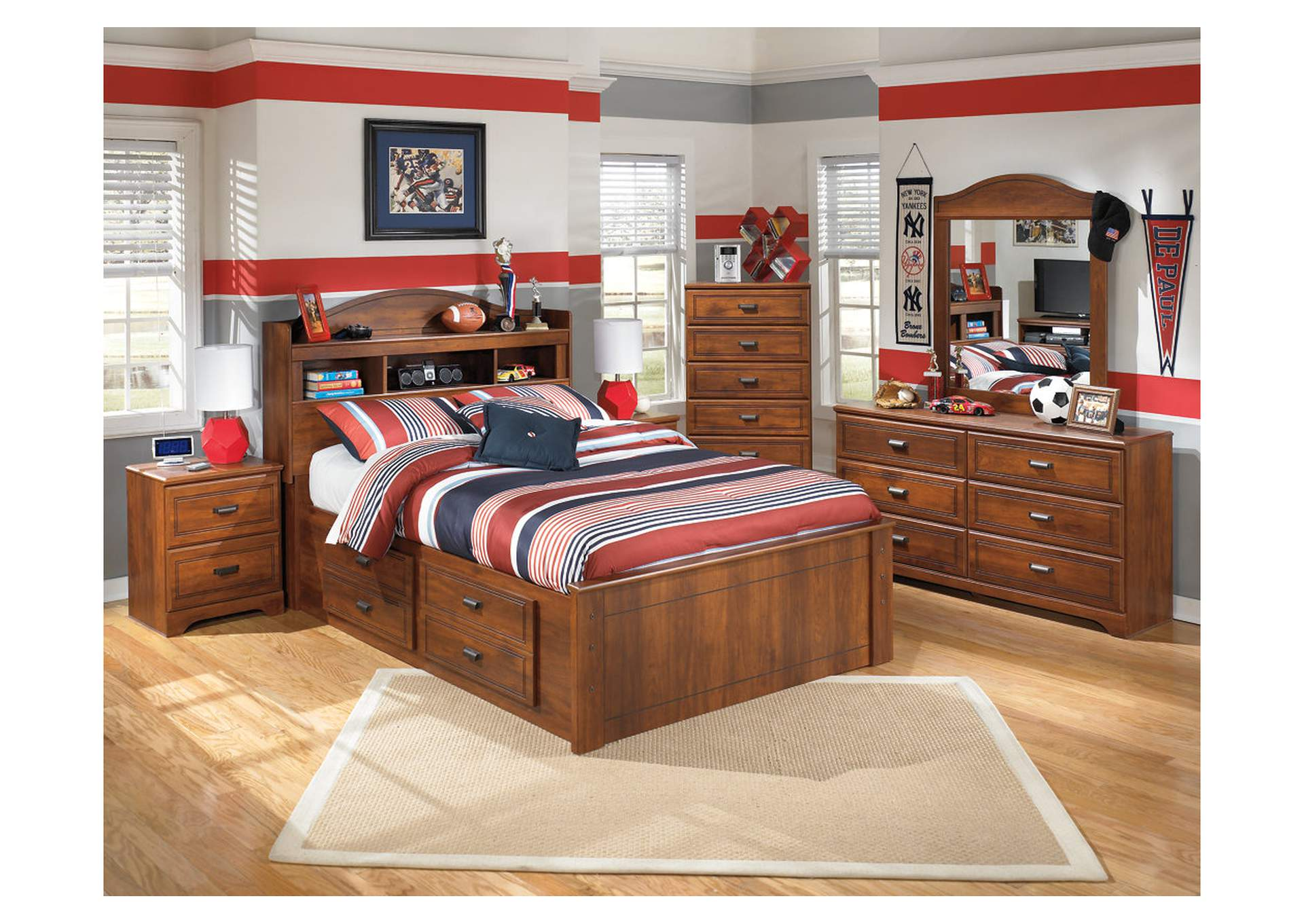 Barchan Full Bookcase Bed w/ Storage, Dresser & Mirror,Signature Design By Ashley