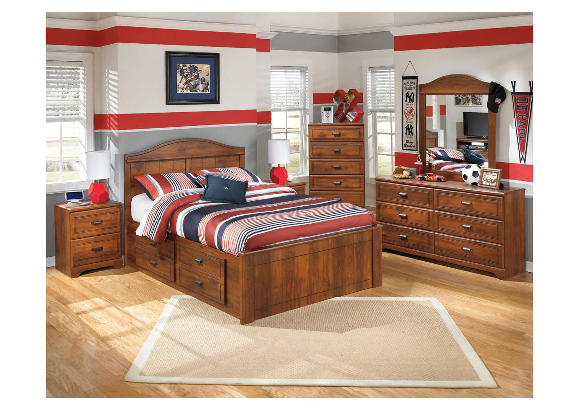 Barchan Full Panel Bed w/ Storage, Dresser & Mirror,Signature Design By Ashley