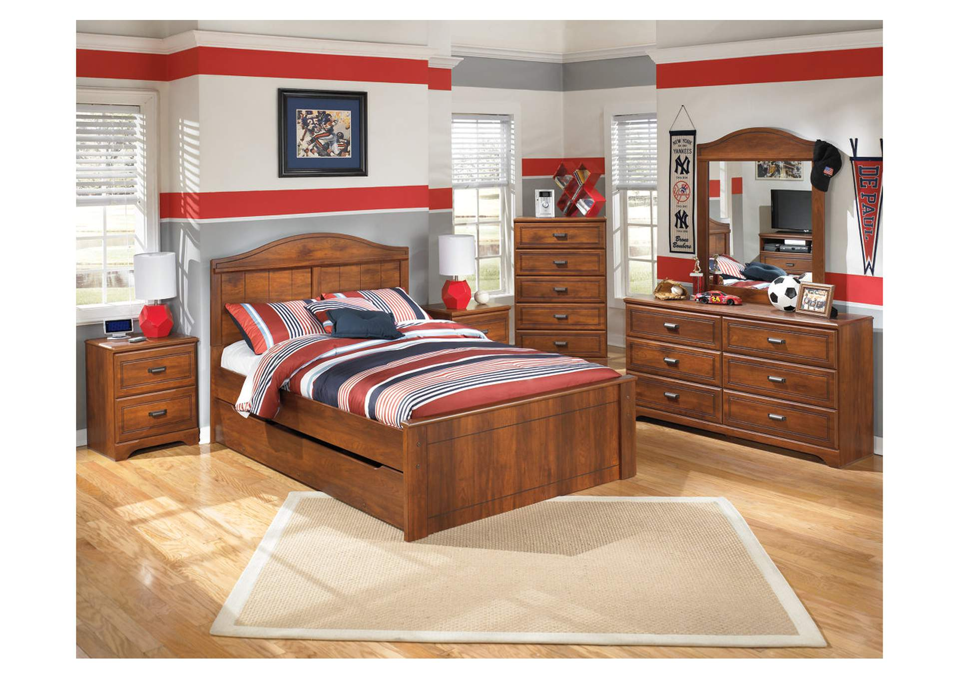 Barchan Full Panel Bed w/ Trundle, Dresser & Mirror,Signature Design By Ashley