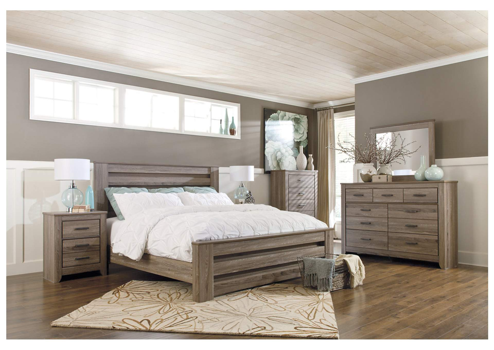 Zelen Warm Gray Full Panel Bed and Dresser w/Mirror,Signature Design By Ashley