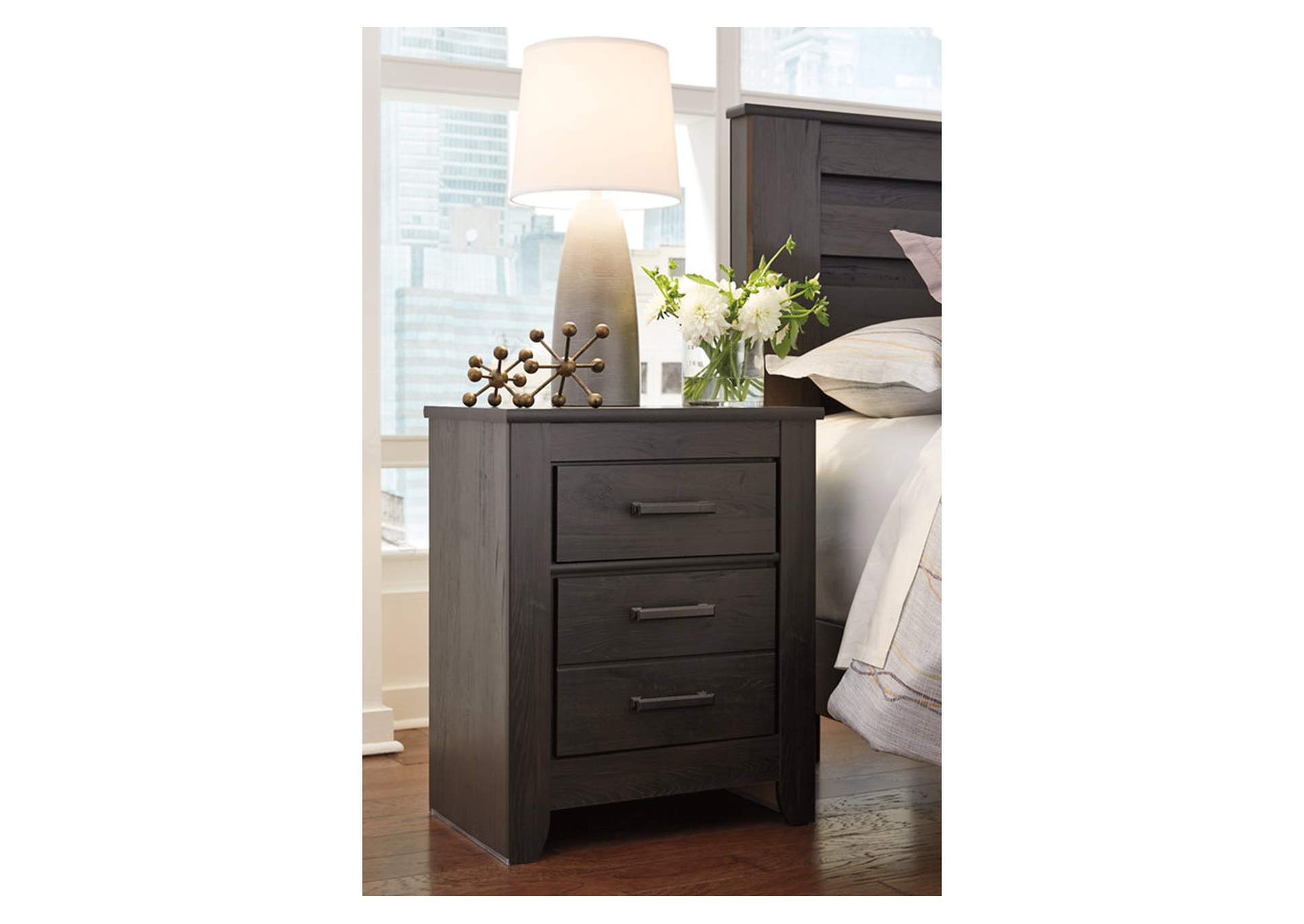 Brinxton Black 2 Drawer Nightstand,Direct To Consumer Express