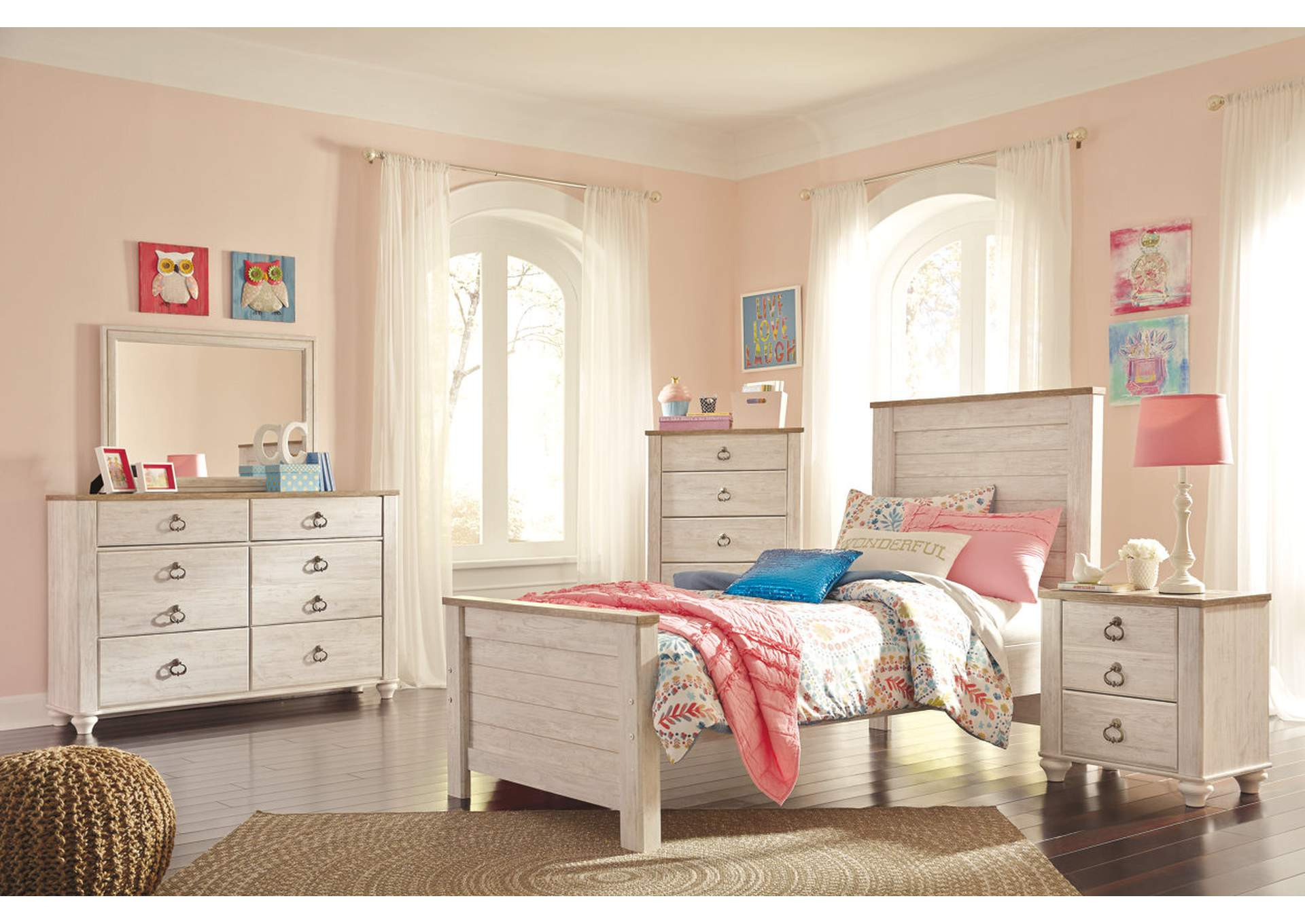 Willowton Twin Panel Bed w/Dresser and Mirror,Signature Design By Ashley