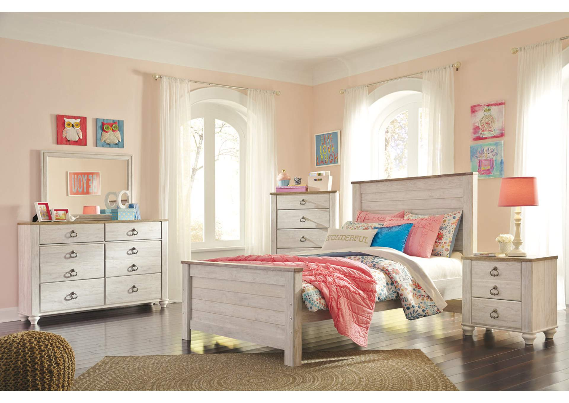 Willowton Full Panel Bed w/Dresser and Mirror,Signature Design By Ashley