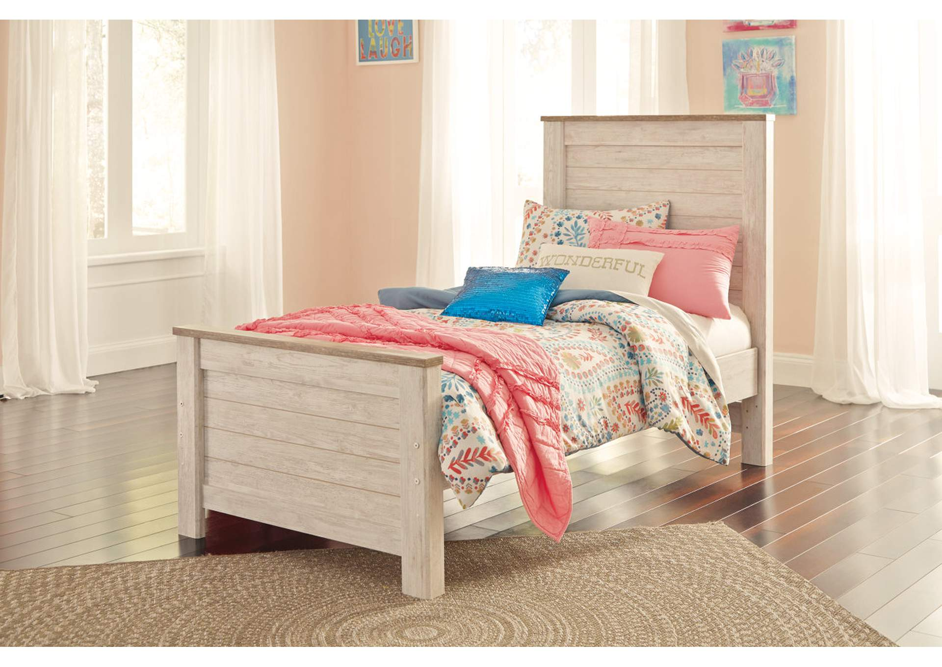 Willowton Whitewash Twin Panel Bed,Signature Design By Ashley