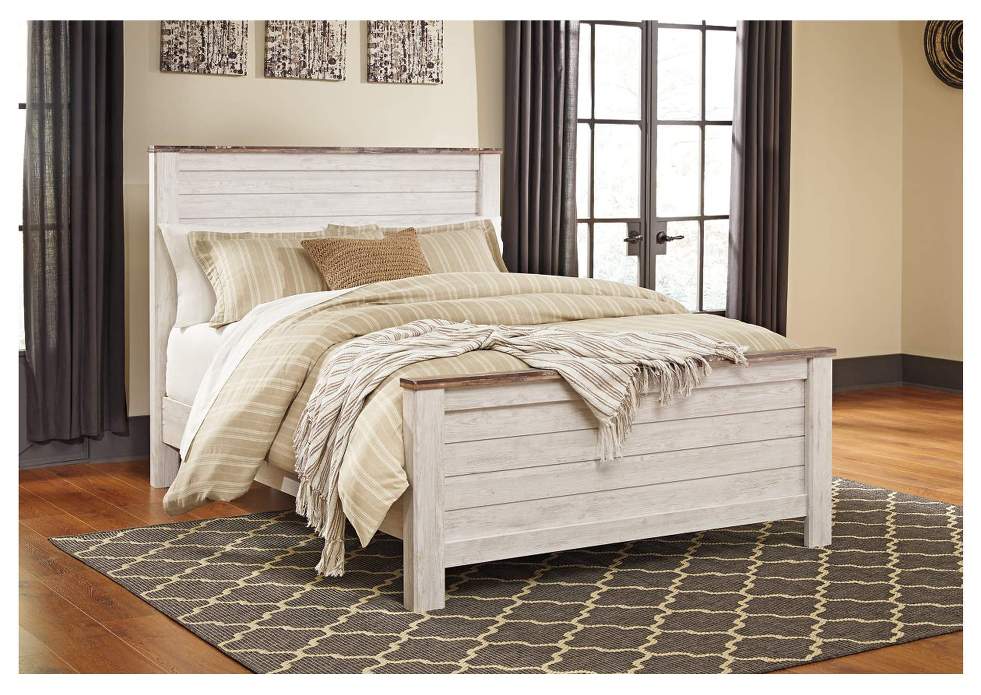 Willowton Whitewash Queen Panel Bed,Direct To Consumer Express