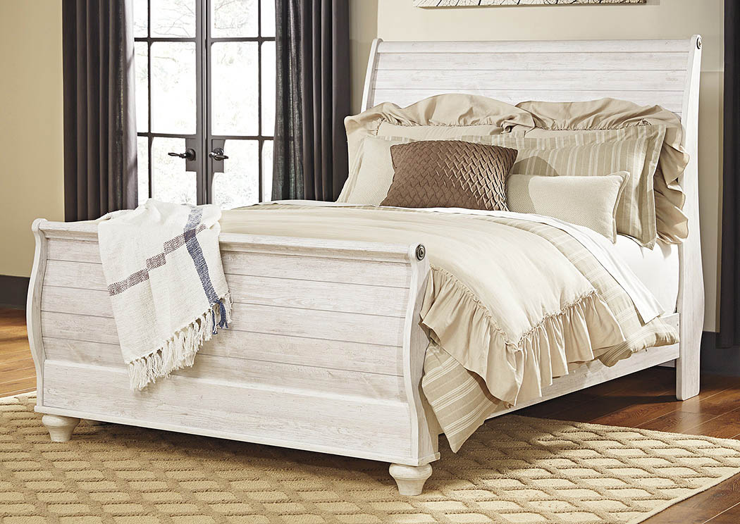 Picture of: Willowton Whitewash Queen Sleigh Bed Curly S Furniture