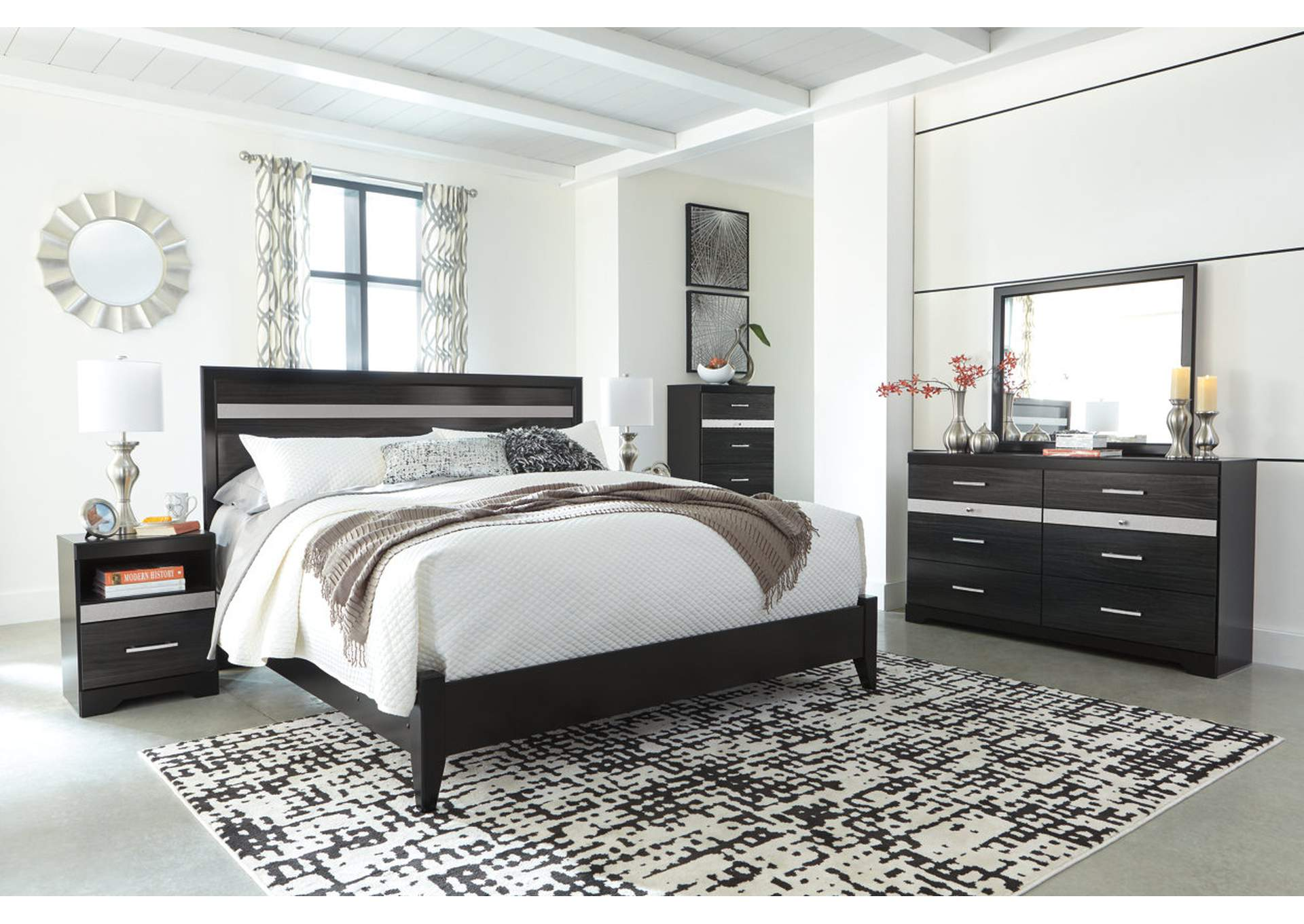 Starberry Black King Panel Bed w/Dresser, Mirror, Chest and Nightstand,Signature Design By Ashley