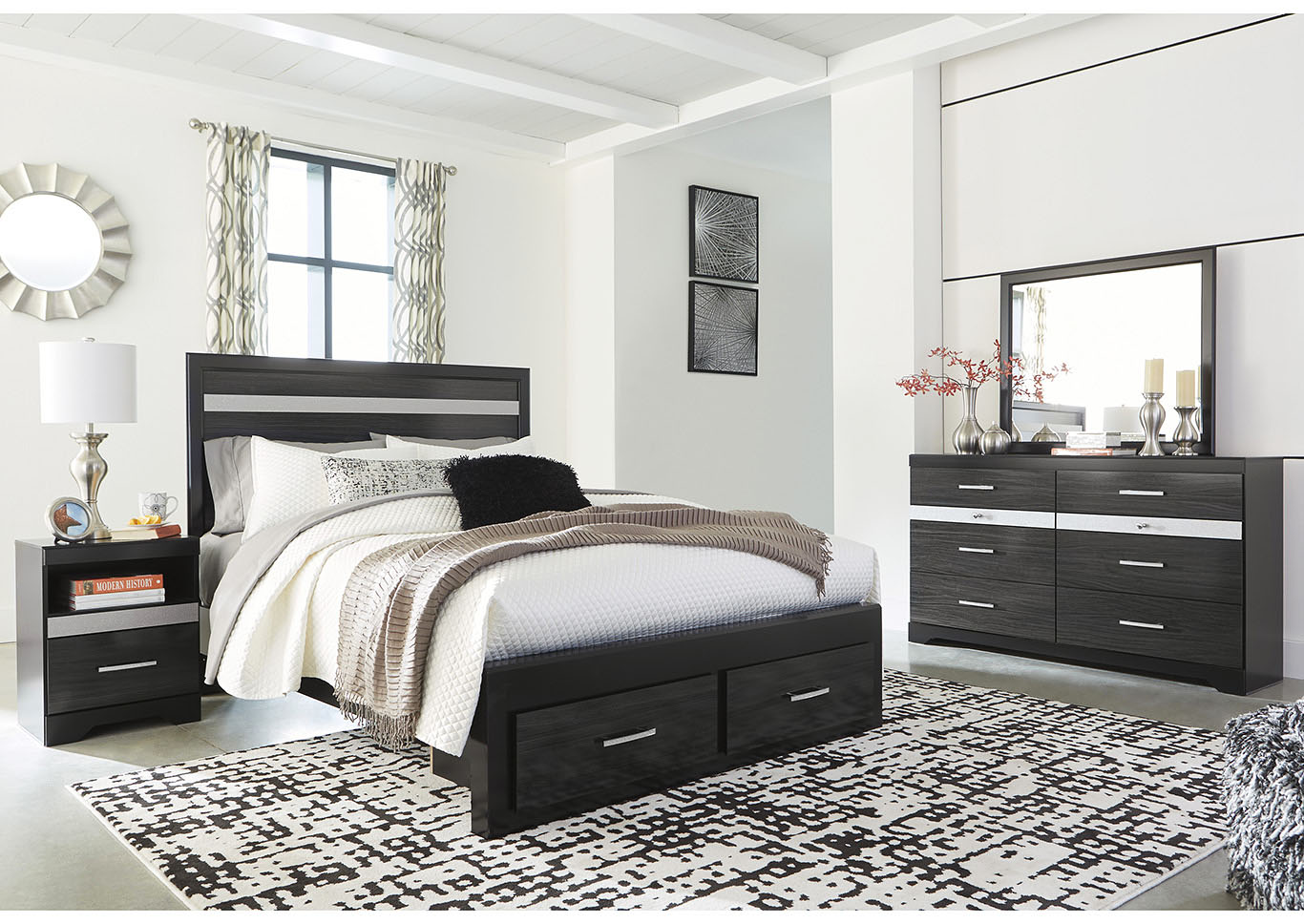 Starberry Black Queen Storage Bed and Dresser w/Mirror,Signature Design By Ashley