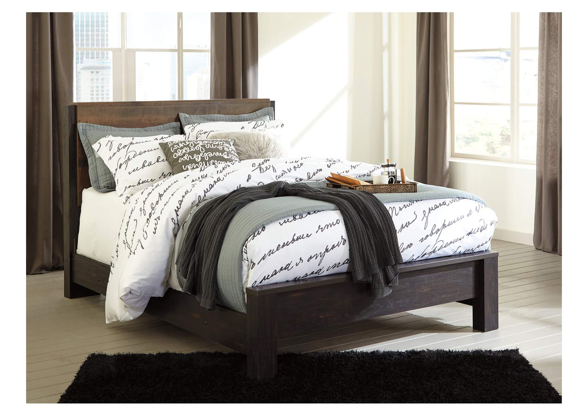Windlore Dark Brown Queen Panel Bed,Signature Design By Ashley
