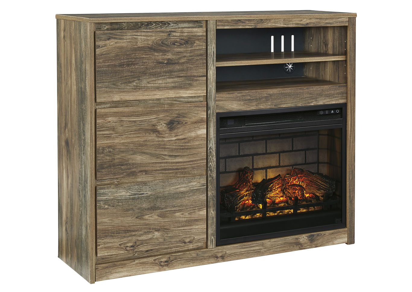 Rusthaven Brown Media Chest w/Fireplace Insert Infrared,Signature Design By Ashley