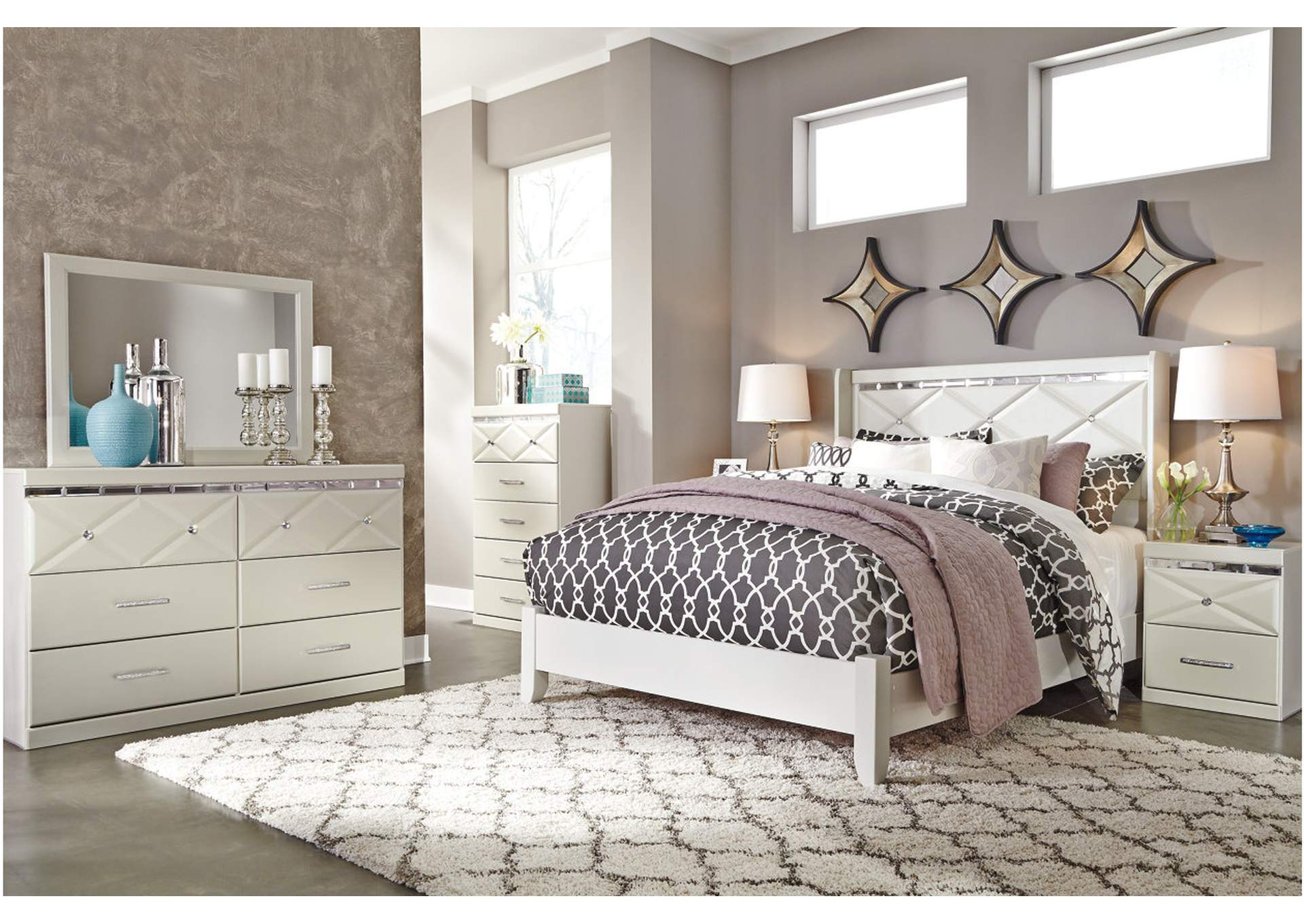 Dreamur Champagne Queen Panel Bed w/ Dresser and Mirror,Signature Design By Ashley