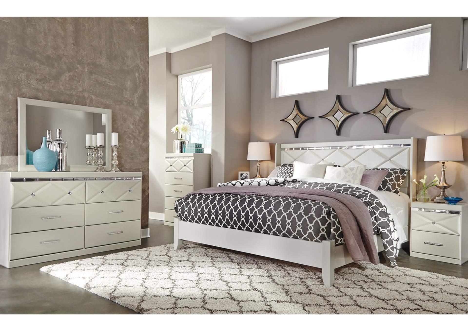 Dreamur Champagne King Panel Bed w/ Dresser, Mirror, Drawer Chest & Nightstand,Signature Design By Ashley