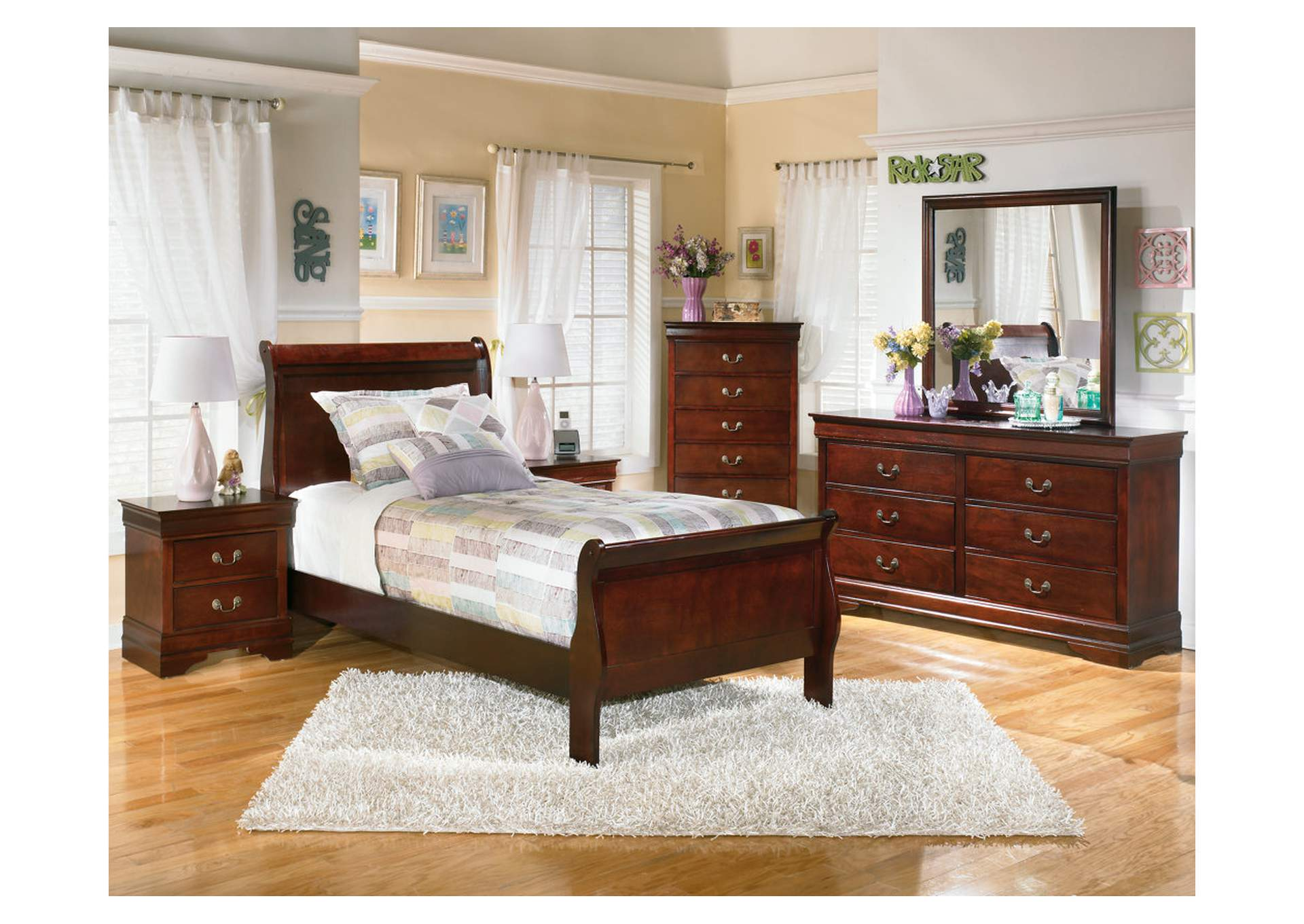 Alisdair Twin Sleigh Bed, Dresser & Mirror,Signature Design By Ashley