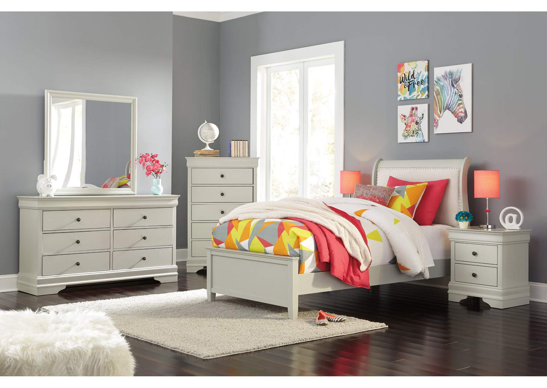 Jorstad Gray Upholstered Sleigh Twin Bed w/Dresser & Mirror,Signature Design By Ashley