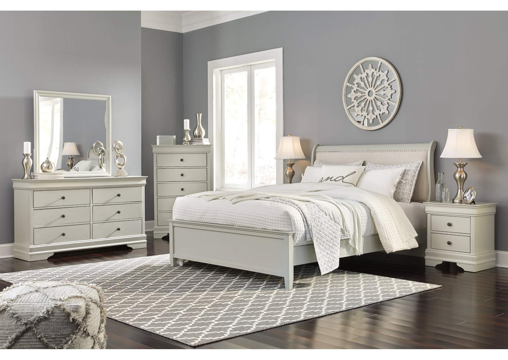 Jorstad Gray Upholstered Sleigh King Bed w/Dresser & Mirror,Signature Design By Ashley