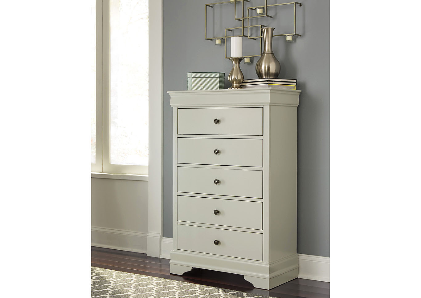 Jorstad Gray Five Drawers Chest,Signature Design By Ashley