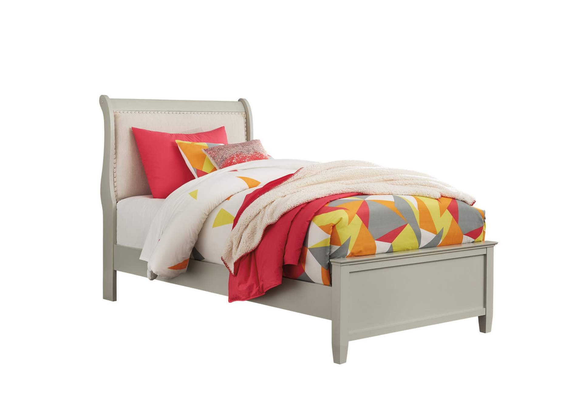 Jorstad Gray Upholstered Sleigh Twin Bed,Signature Design By Ashley