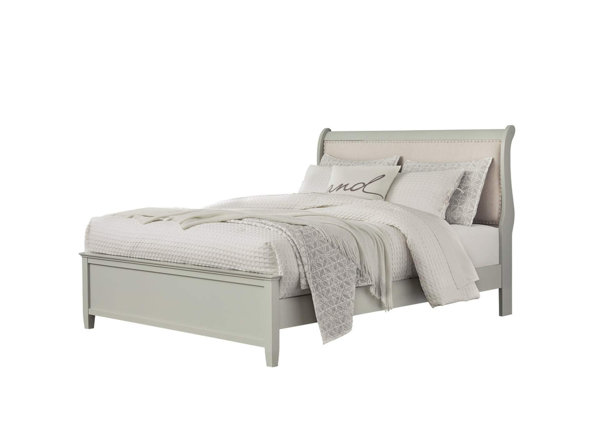 Jorstad Gray Upholstery Sleigh California King Bed,Signature Design By Ashley