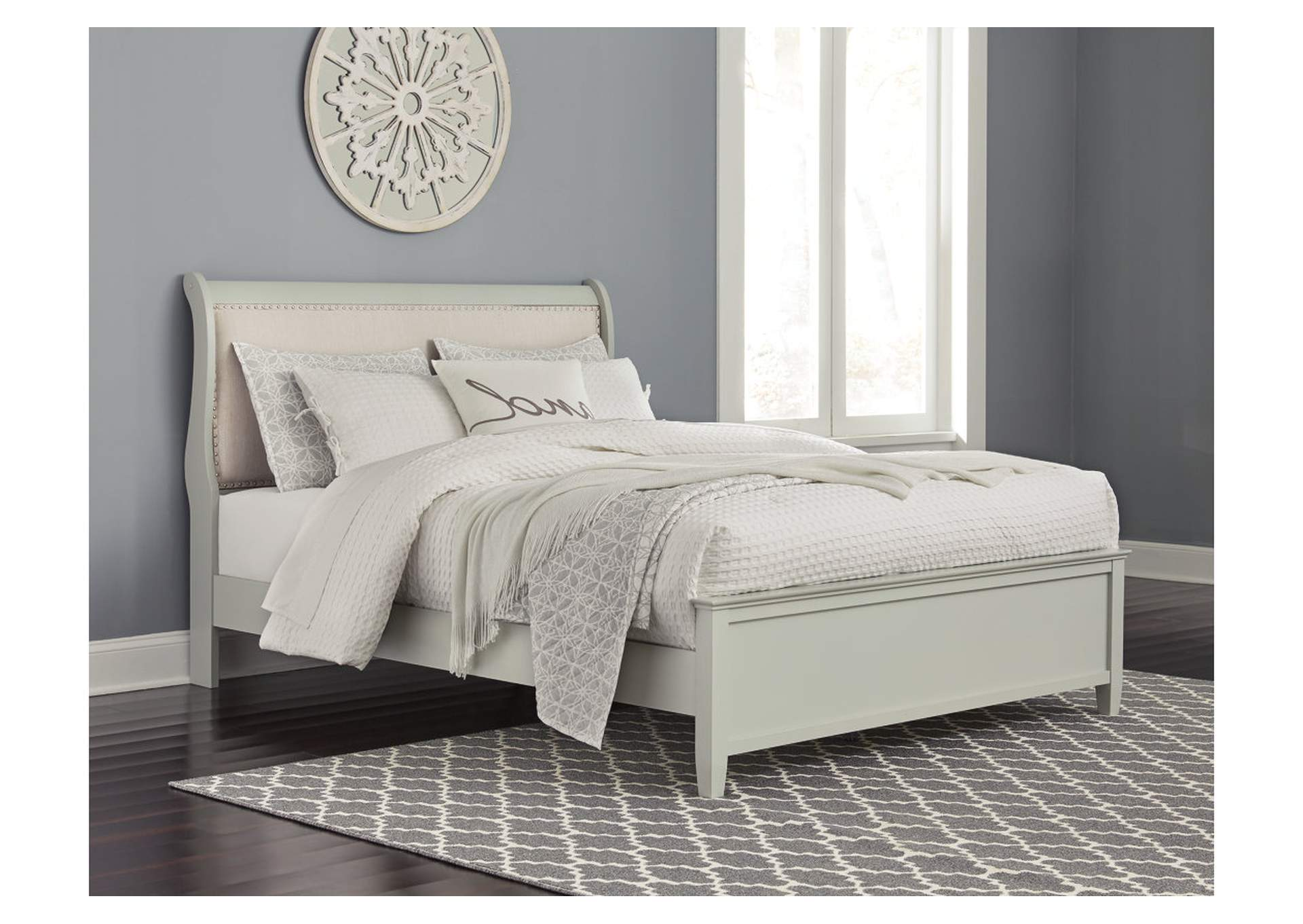 Jorstad Gray Upholstery Sleigh King Bed,Signature Design By Ashley