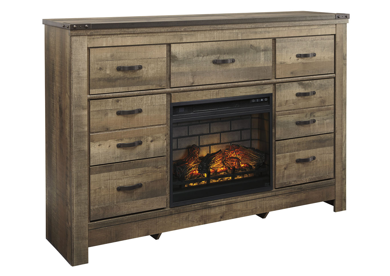 Trinell Brown Dresser w/Fireplace Insert Infrared,Signature Design By Ashley