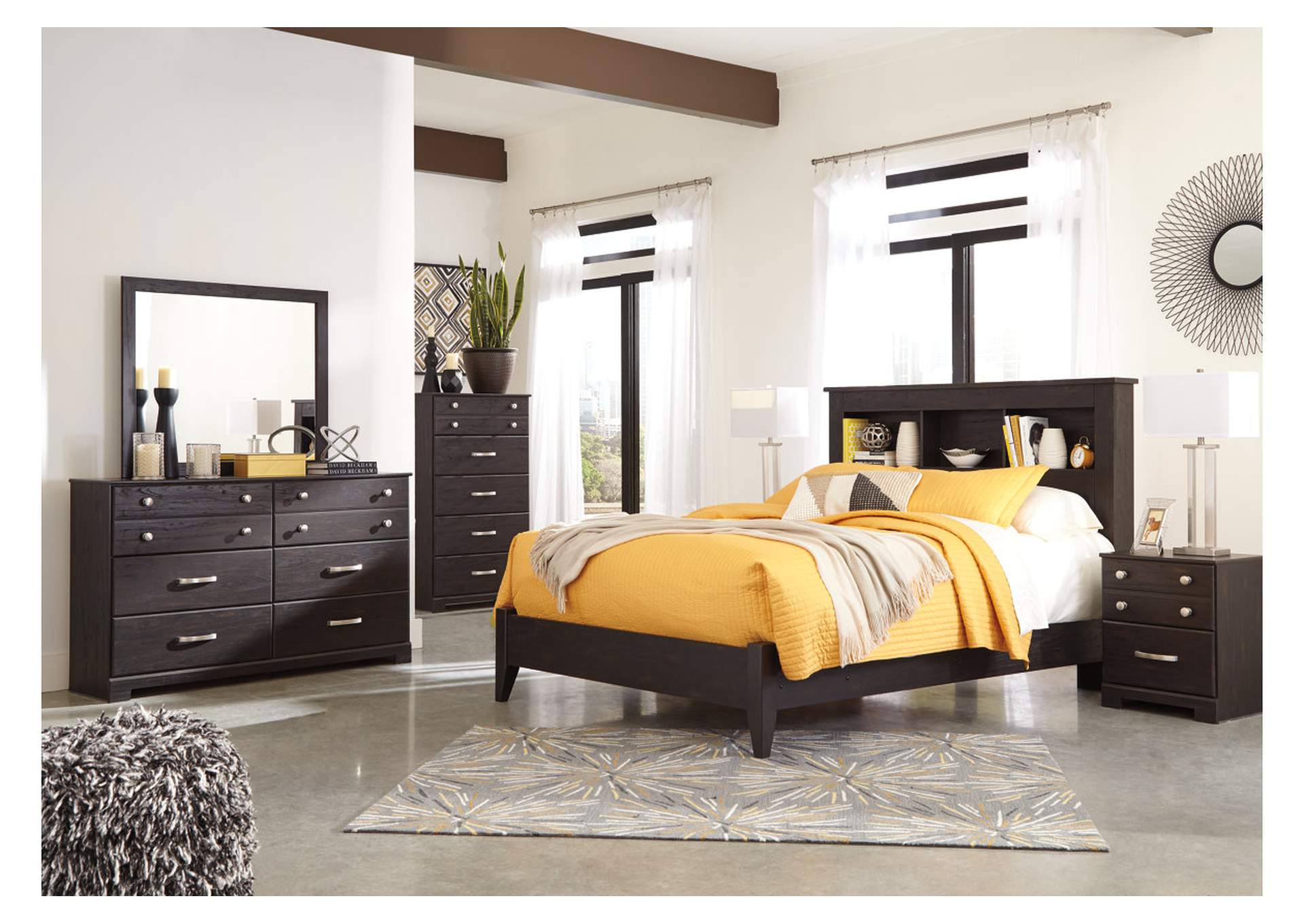 Reylow Dark Brown Queen Bookcase Panel Bed w/Dresser & Mirror,Signature Design By Ashley