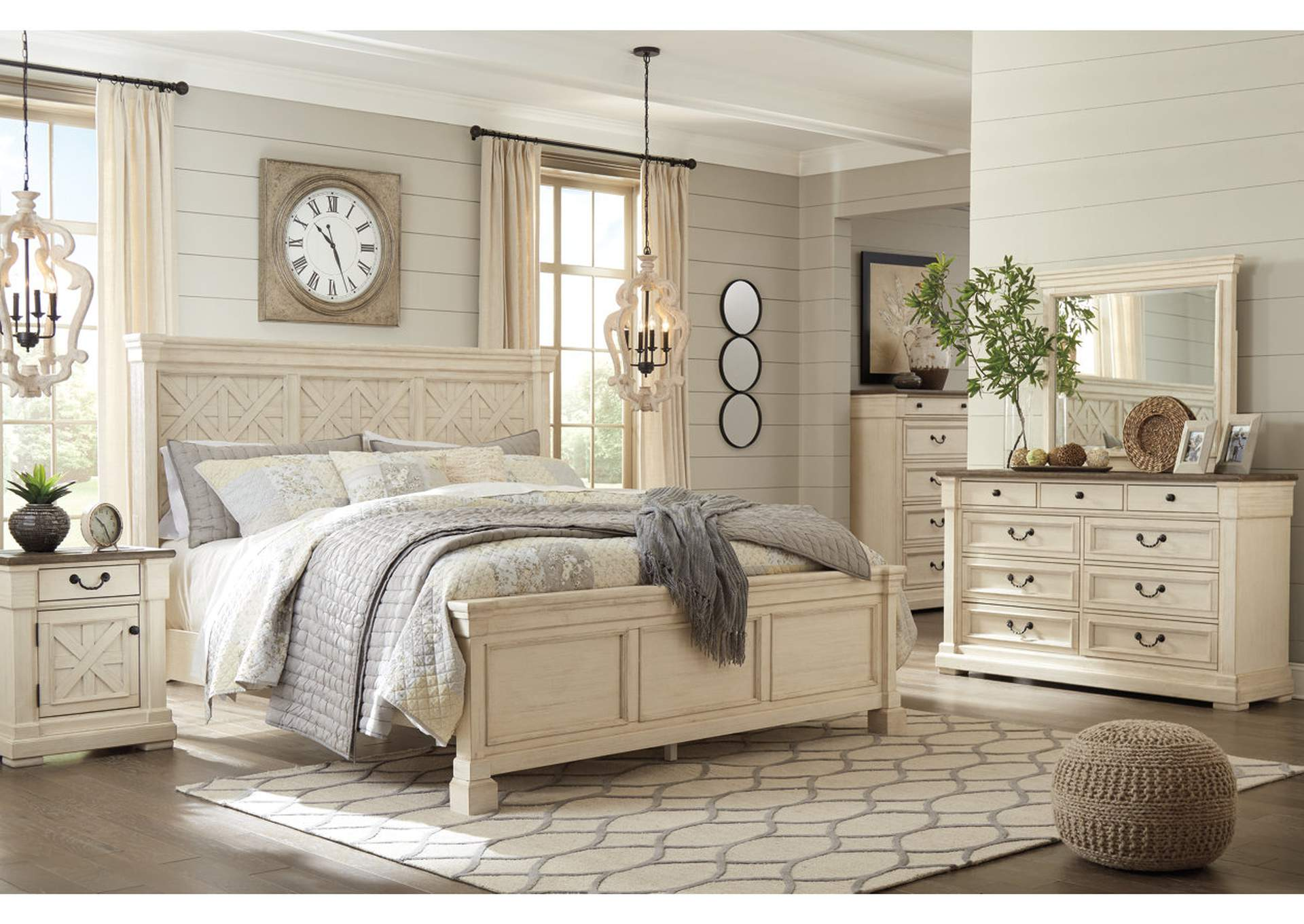 Bolanburg Antique White Queen Bed, Dresser, and Mirror,Signature Design By Ashley
