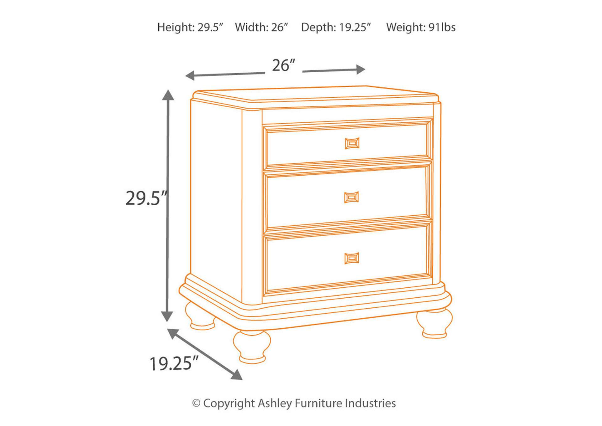 Coralayne Silver Three Drawer Night Stand,Signature Design By Ashley