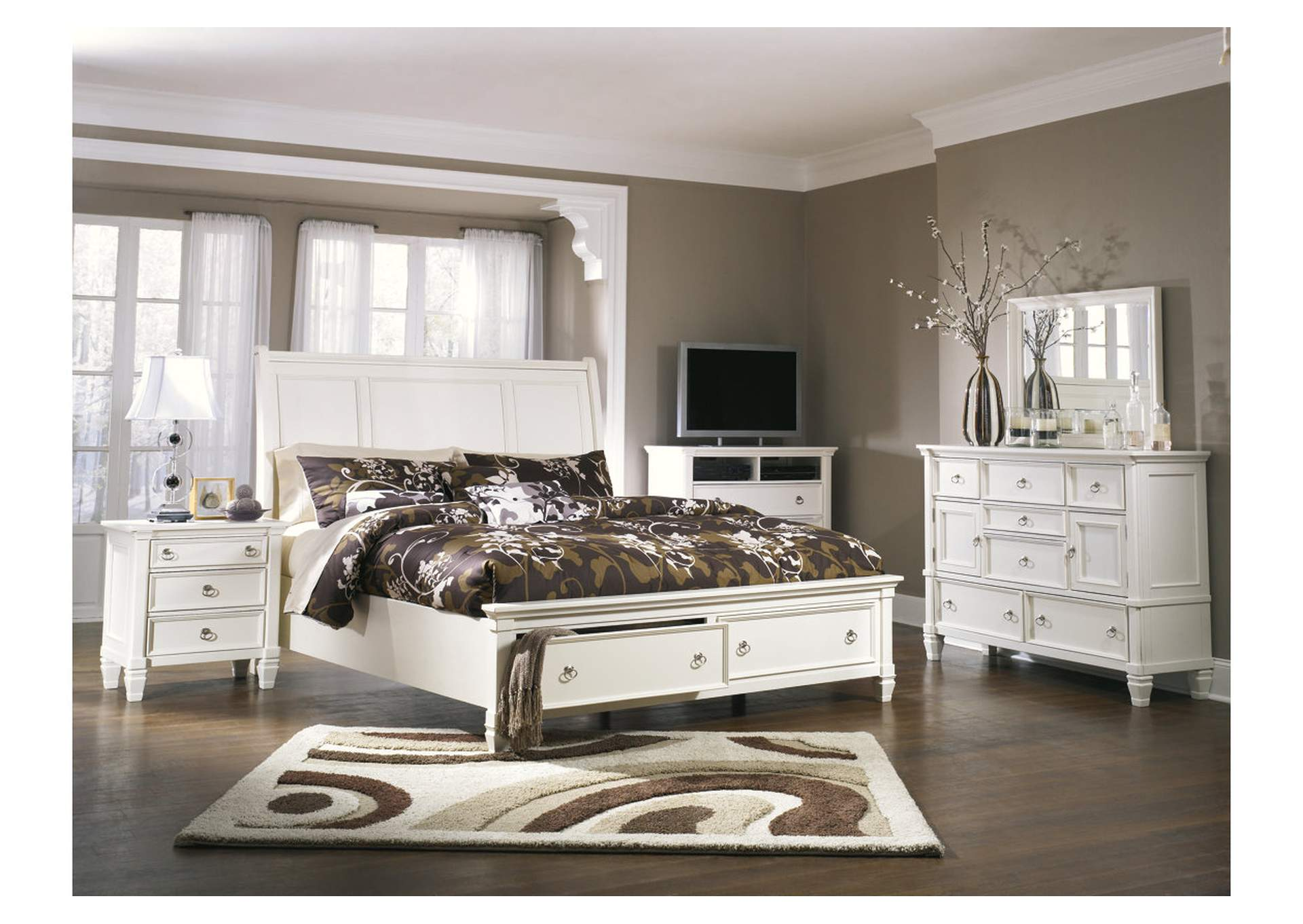 Prentice White California King Storage Sleigh Bed, Dresser & Mirror,Millennium