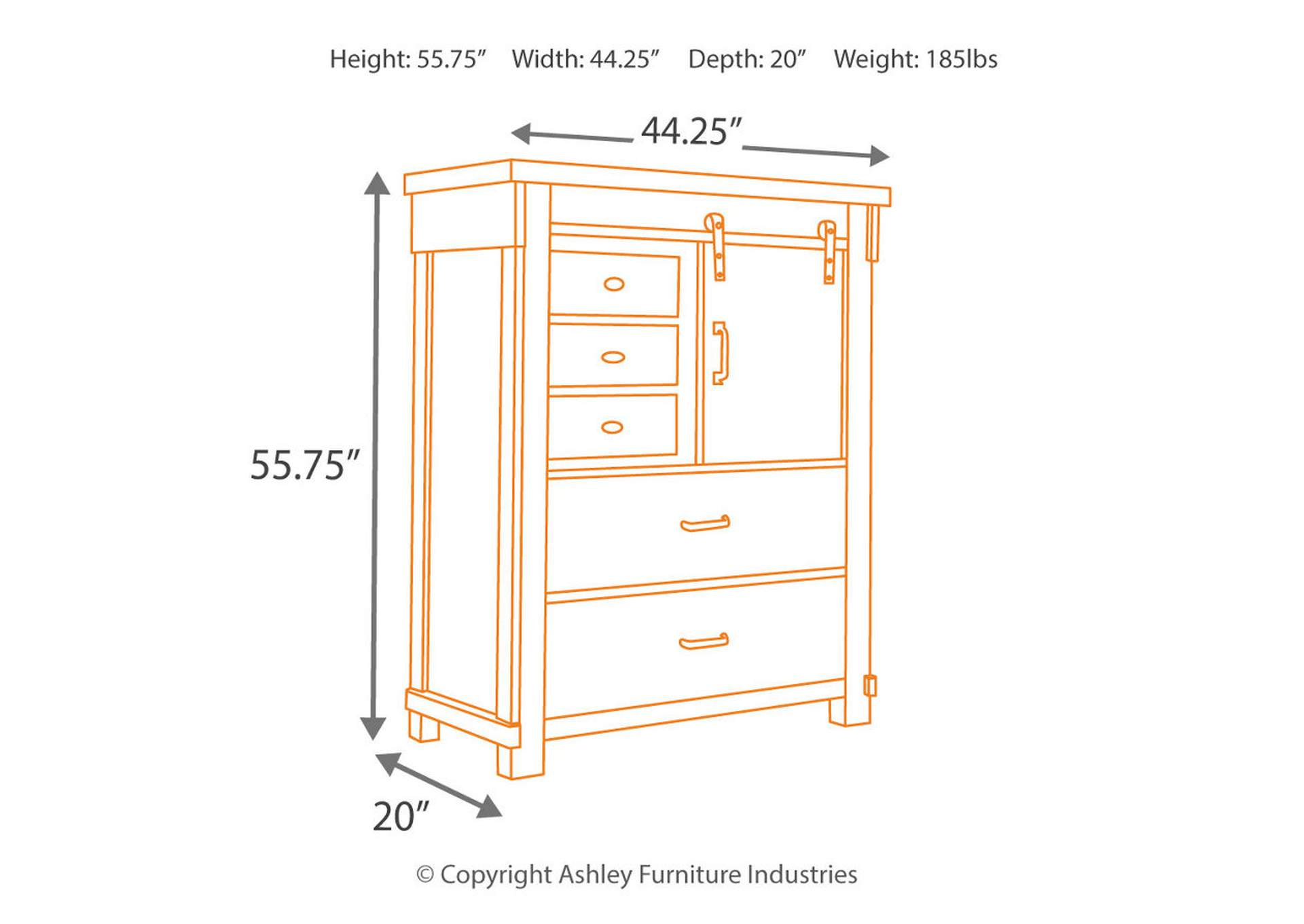 Lakeleigh Brown Five Drawer Chest,Signature Design By Ashley