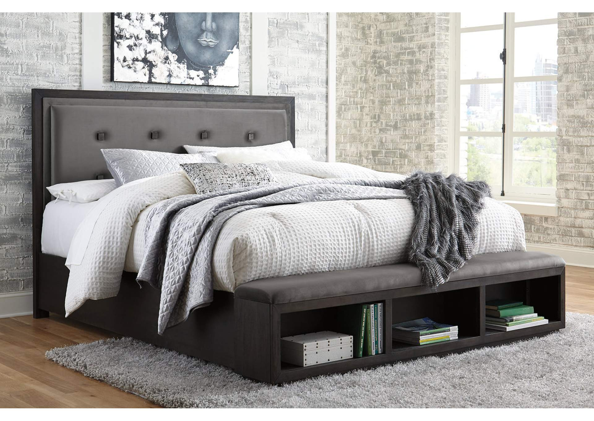 Hyndell California King Upholstered Panel Bed with Storage,Signature Design By Ashley