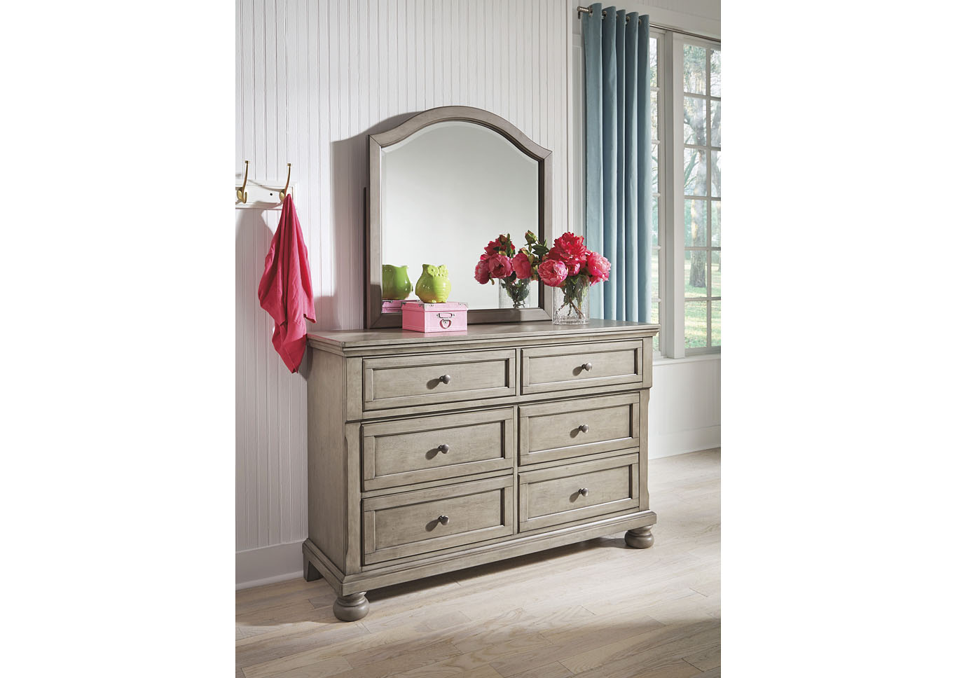 Lettner Light Gray Dresser And Mirror Mr Discount Furniture Chicago Il