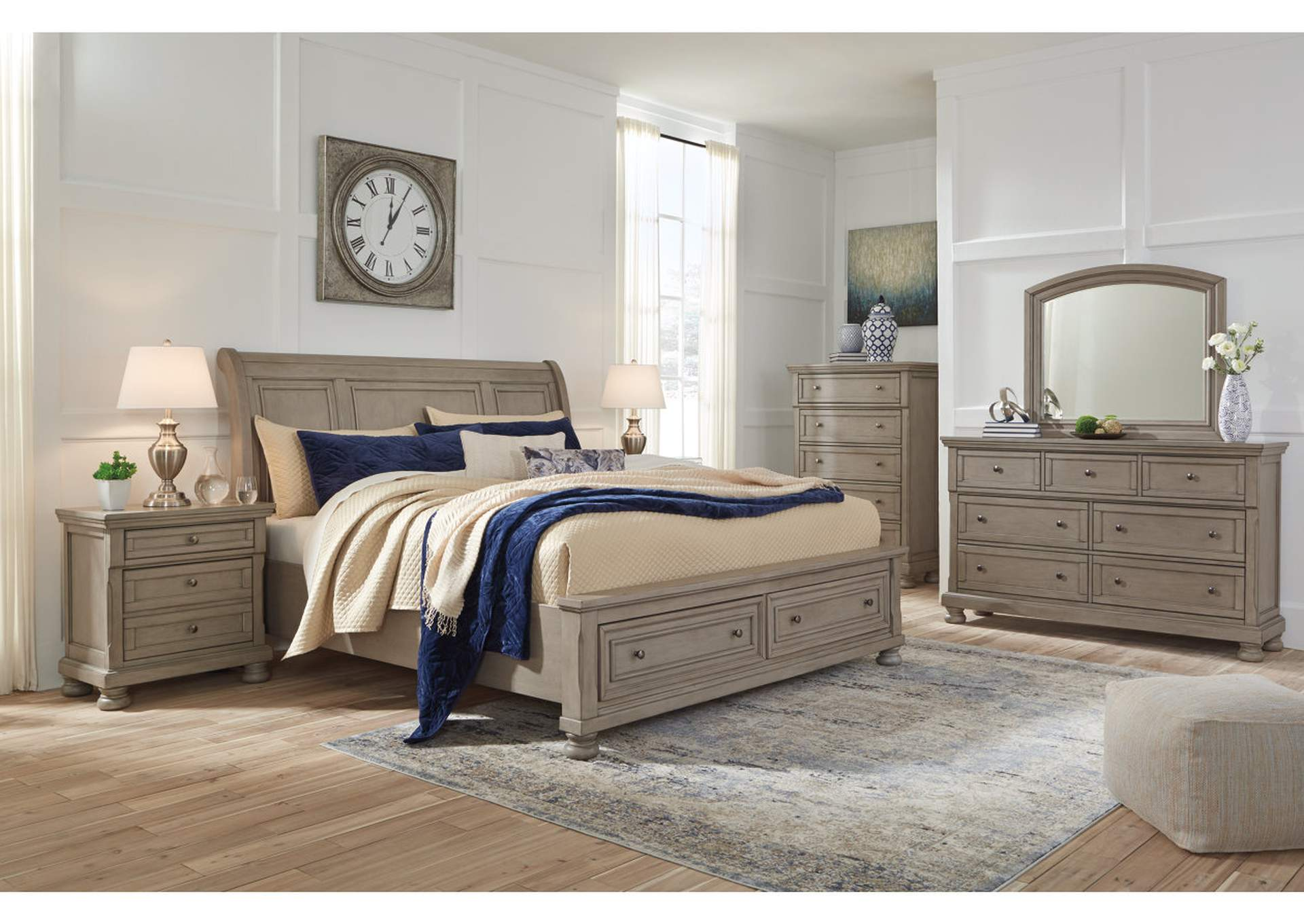 Lettner Light Gray Queen Sleigh Storage Bed w/Dresser and Mirror,Signature Design By Ashley