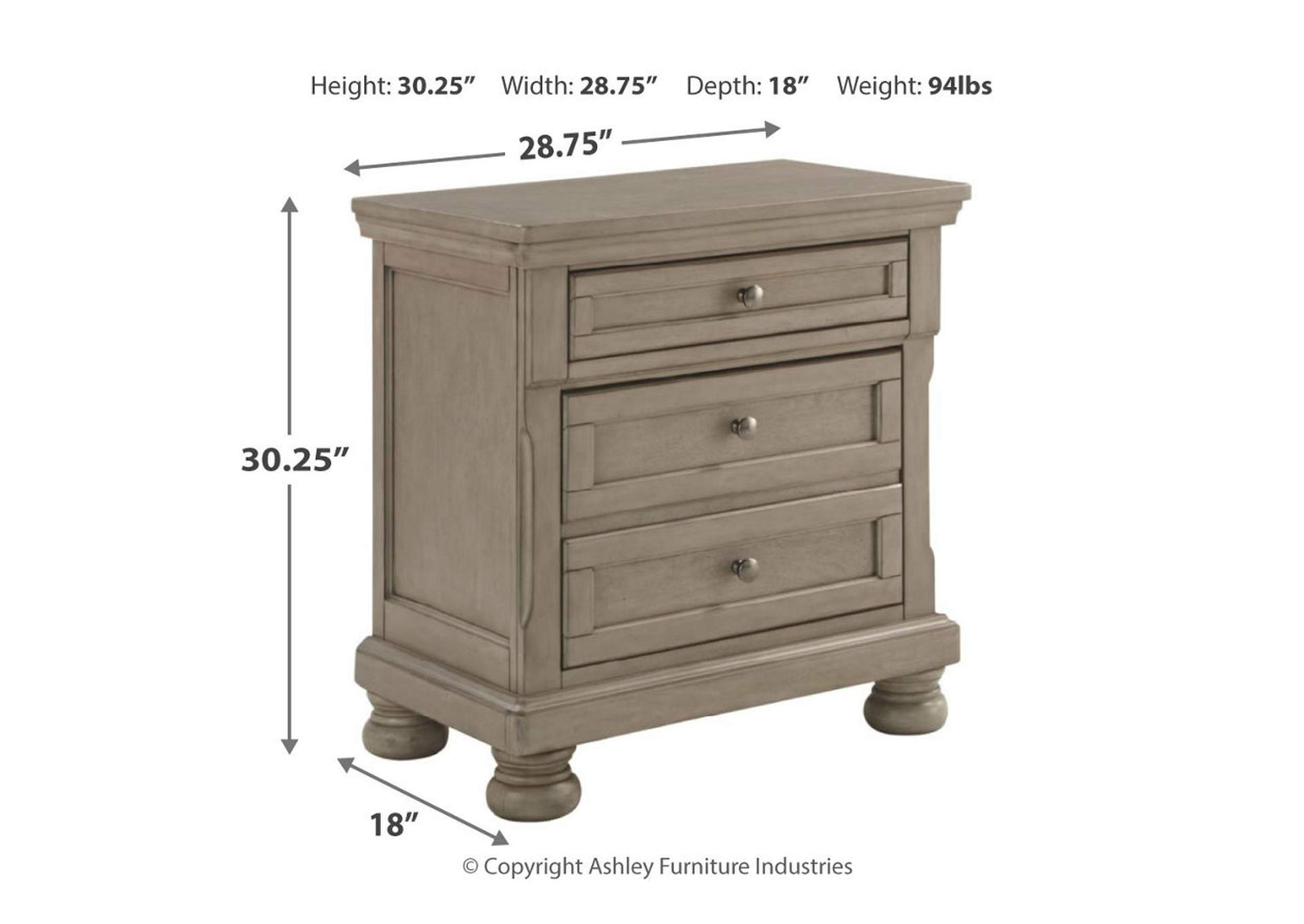 Lettner Light Gray Two Drawer Nightstand,Direct To Consumer Express