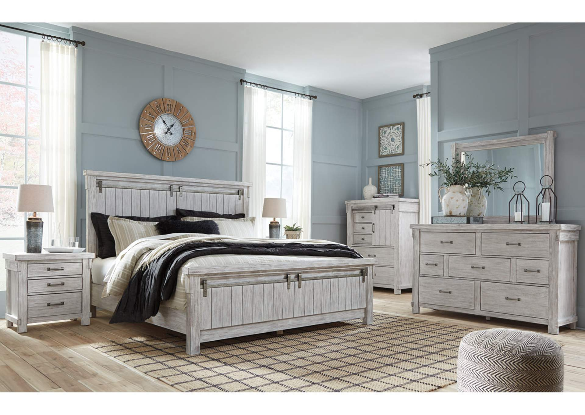 Brashland King Panel Bed w/Dresser and Mirror,Signature Design By Ashley